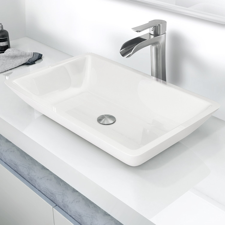 Vigo flat edged phoenix stone rectangular vessel bathroom for Flat bathroom sinks