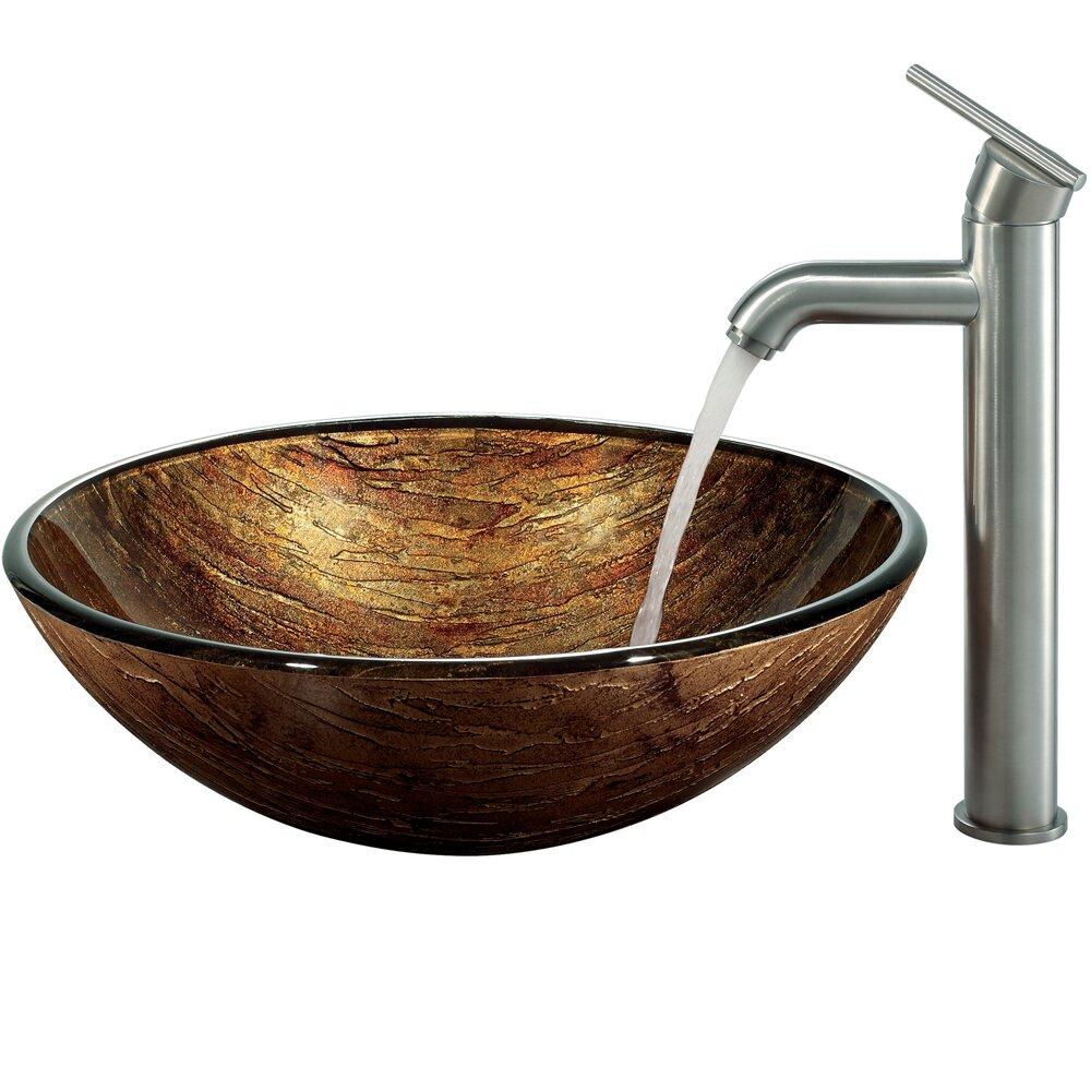 Vigo Amber Sunset Glass Vessel Bathroom Sink And Seville Vessel Faucet With Reviews Wayfair
