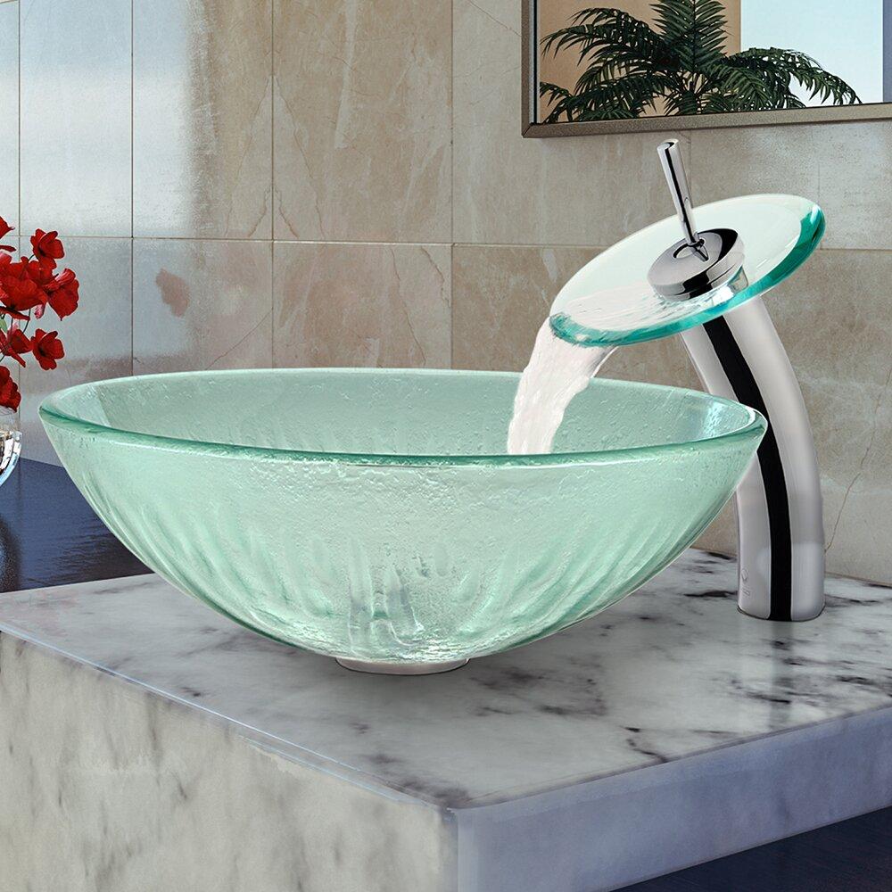 Vigo Icicles Glass Vessel Bathroom Sink And Waterfall