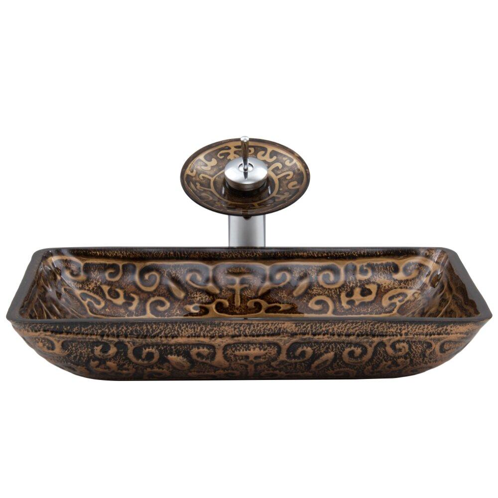 Vigo Rectangular Golden Greek Glass Vessel Bathroom Sink