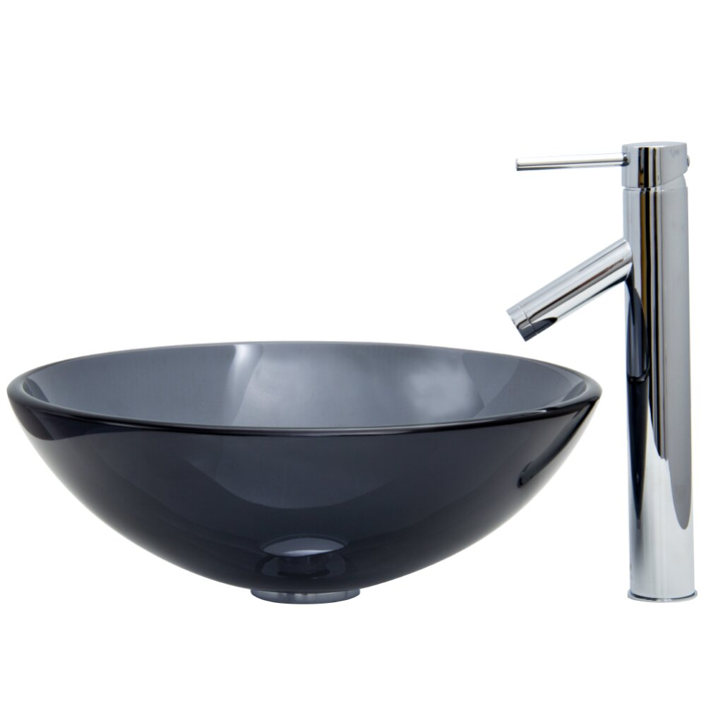 Vigo sheer black glass vessel bathroom sink and dior Black vessel bathroom sink