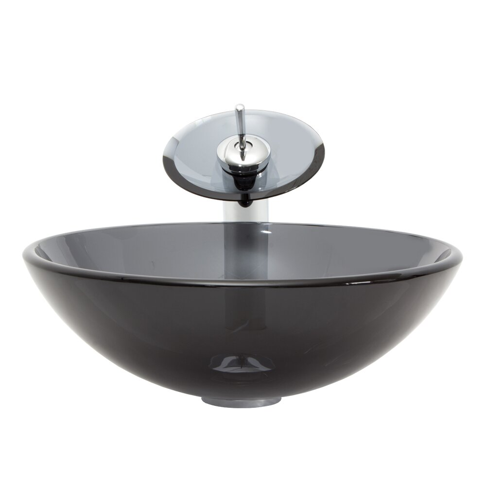 Vigo sheer black glass vessel bathroom sink and waterfall for Black vessel bathroom sink