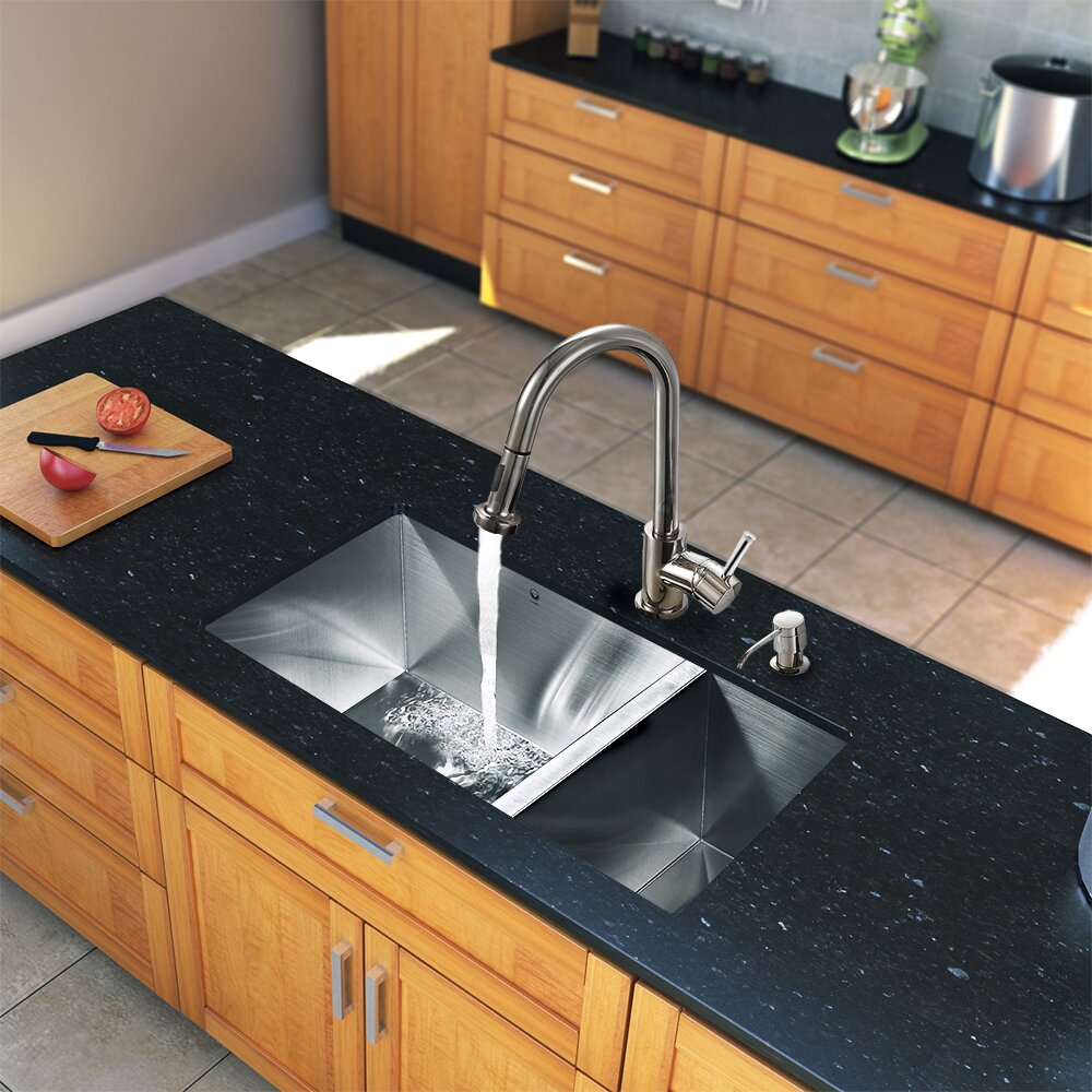 undermount ss kitchen sinks vigo 29 inch undermount 70 30 bowl 16 6602