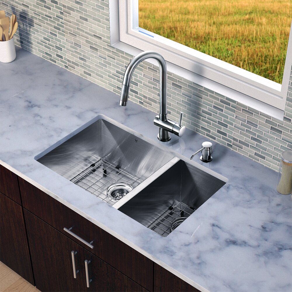 Vigo 29 Inch Undermount 70 30 Double Bowl 16 Gauge Stainless Steel Kitchen Sink With Gramercy
