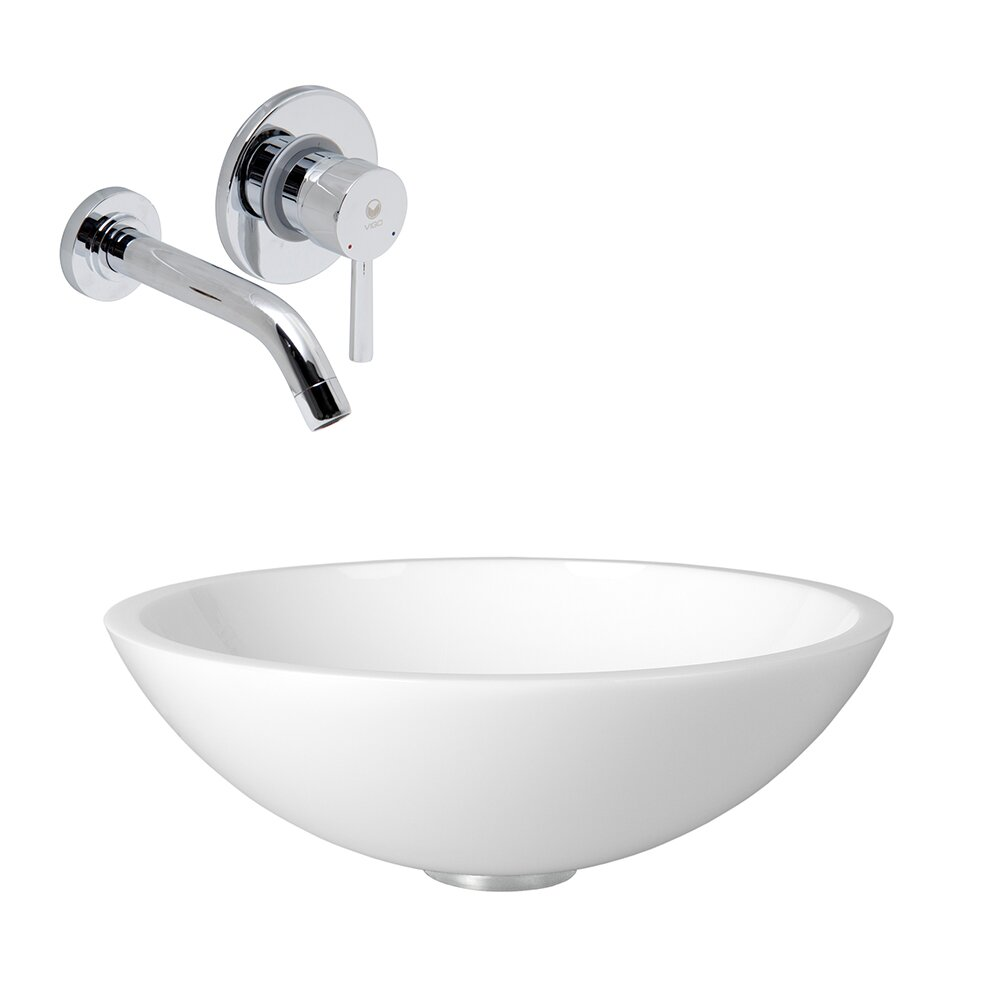Flat Edged White Phoenix Stone Vessel Sink and Olus Wall Mount Faucet ...