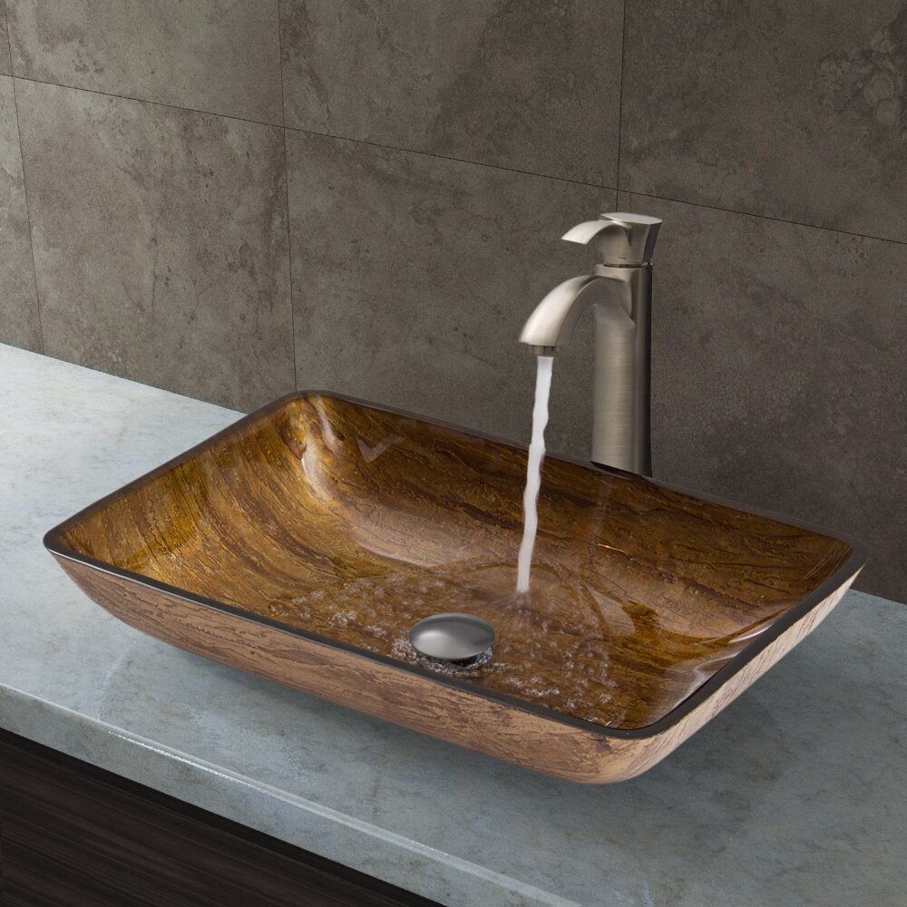 Vigo Rectangular Amber Sunset Glass Vessel Bathroom Sink