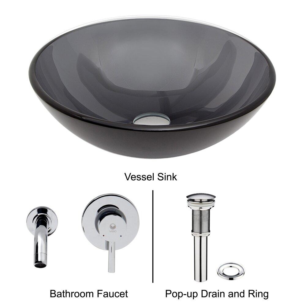 Black Glass Vessel Sink : Vigo Sheer Black Glass Vessel Bathroom Sink and Olus Wall Mount Faucet ...