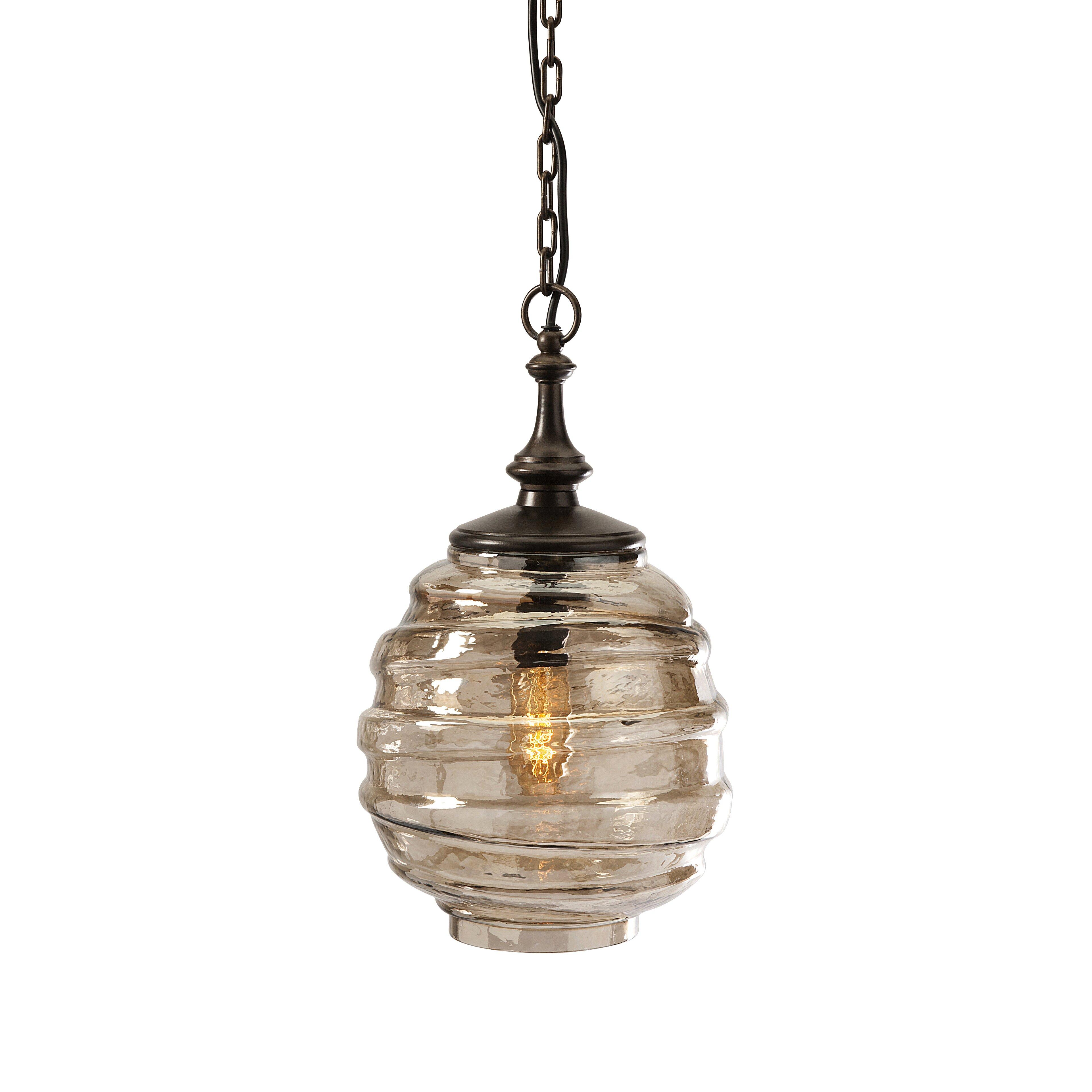 Imax percy glass 1 light pendant reviews wayfair for Wayfair industrial lamp