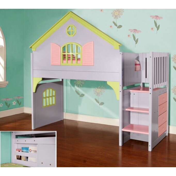 Discovery world furniture dollhouse twin loft bed for Dollhouse loft bed plans