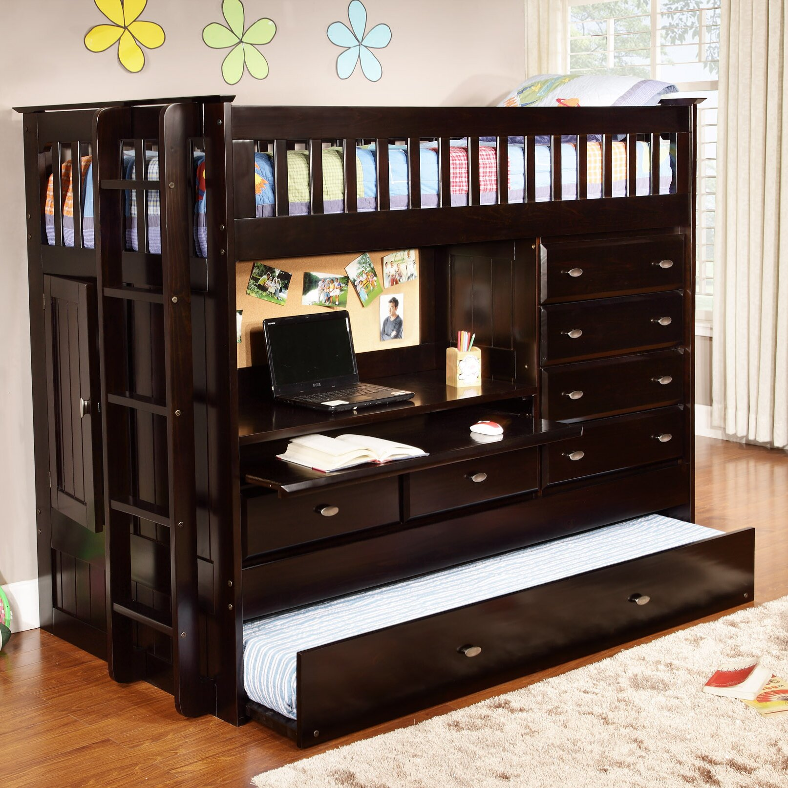 discovery world furniture all in one twin bunk bed with trundle and storage reviews wayfair. Black Bedroom Furniture Sets. Home Design Ideas