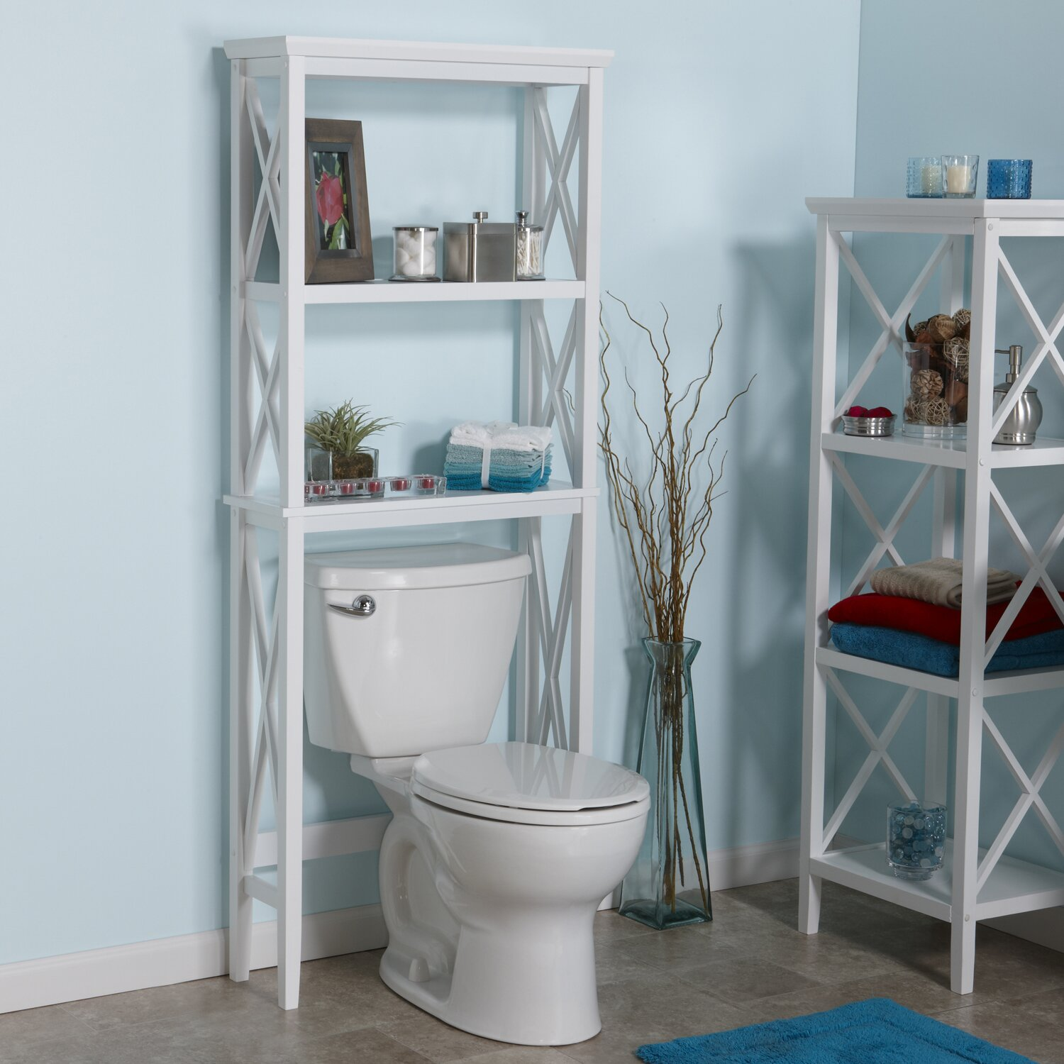 riverridge home products x frame 26 w x 64 h over the toilet storage reviews wayfair. Black Bedroom Furniture Sets. Home Design Ideas
