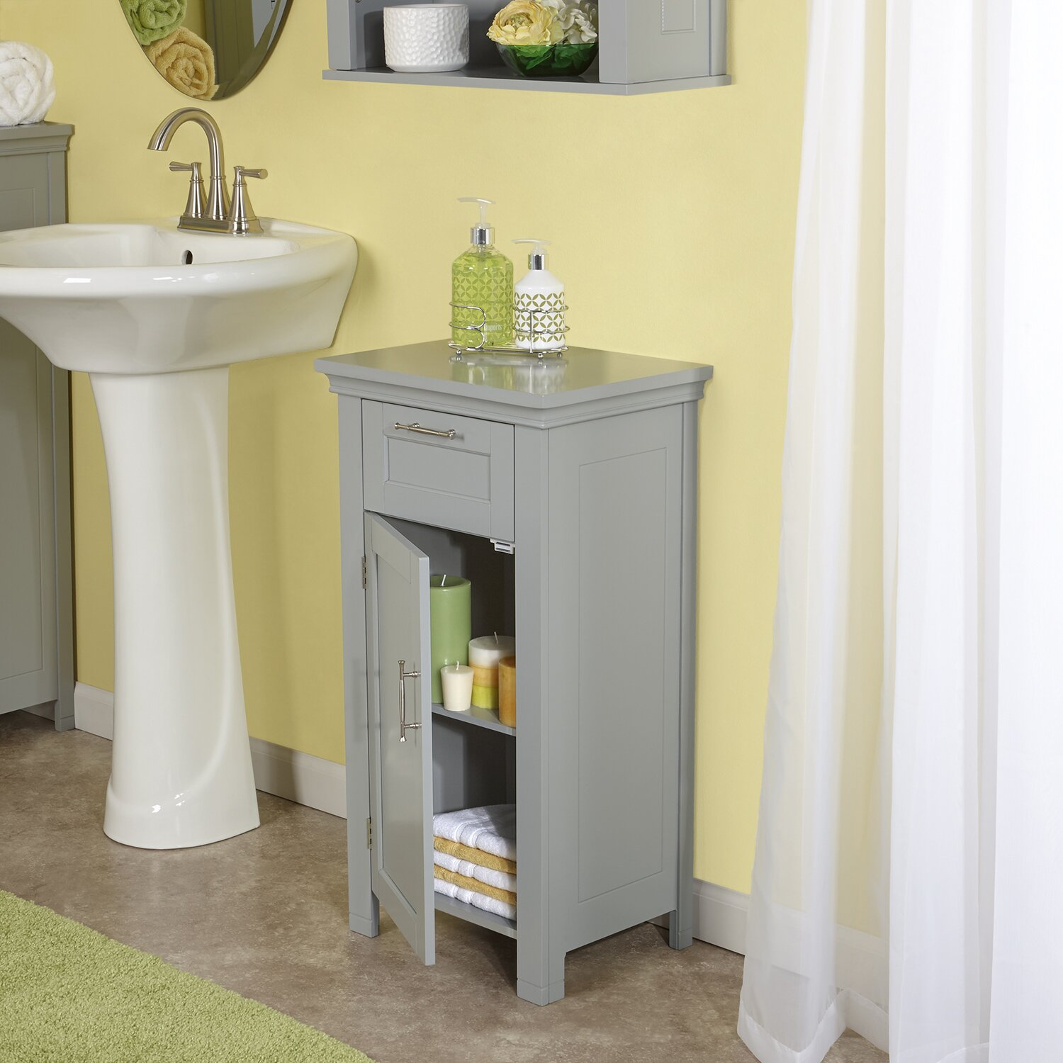 Riverridge home products somerset 16 x 30 free standing for Grey bathroom cupboard