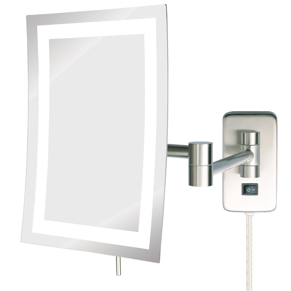 Jerdon Led Lighted Wall Mount Rectangular Makeup Mirror