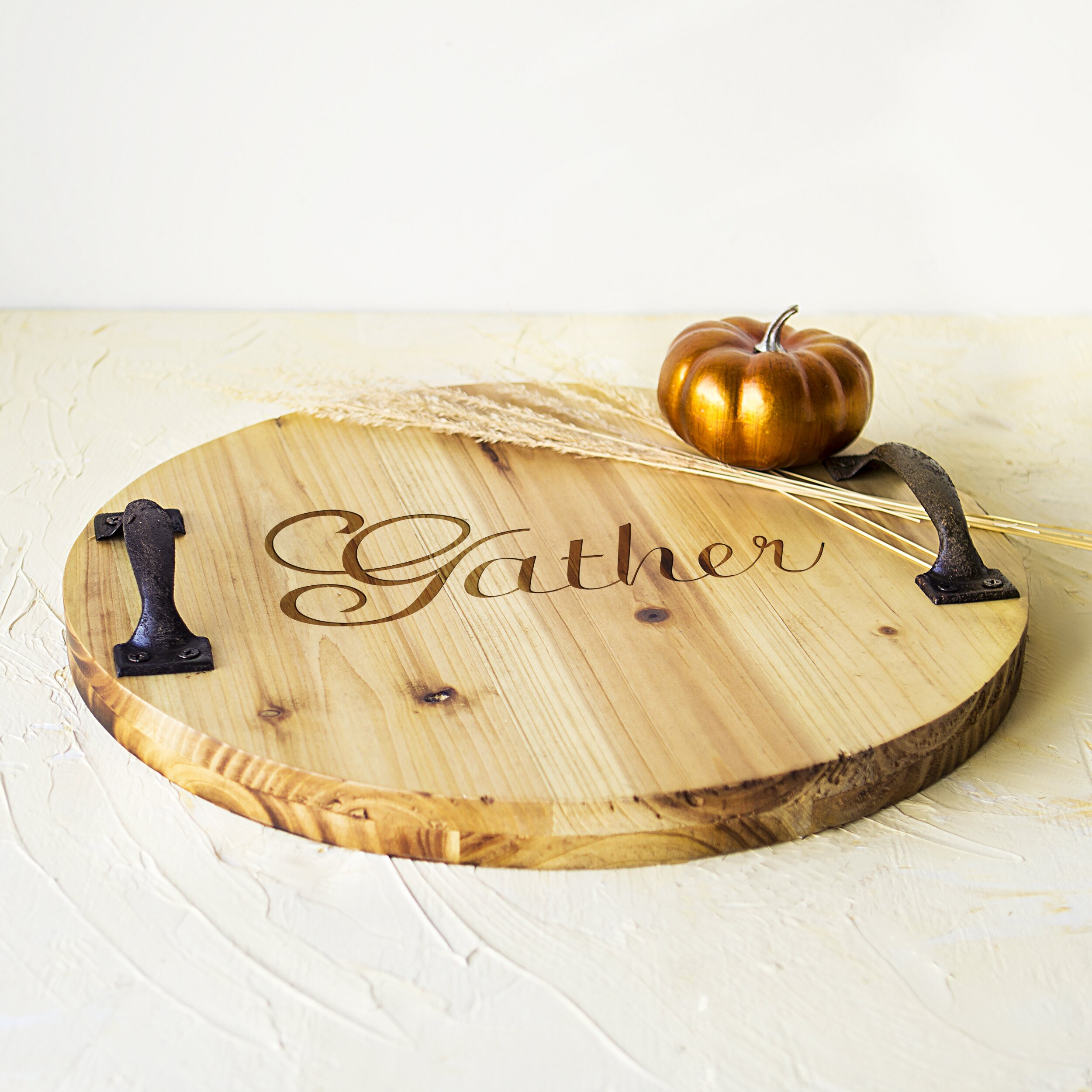 Cathys concepts harvest rustic gather wood tray for Rustic concept