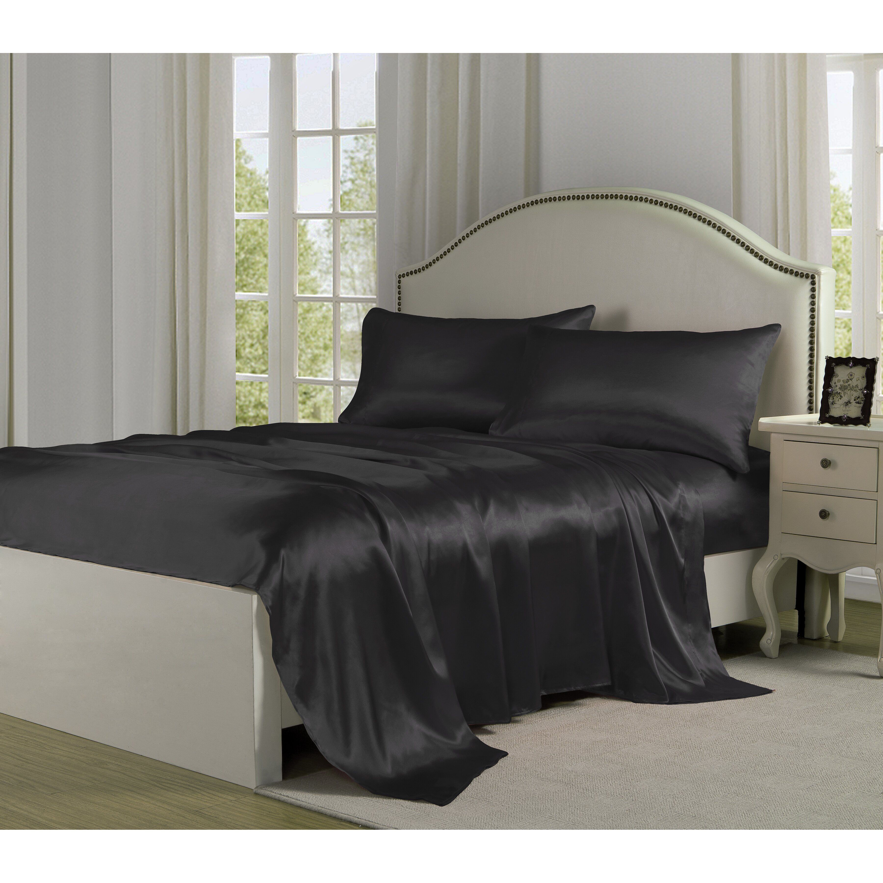 Fresh Ideas 4 Piece 280 Thread Count Satin Sheet Set