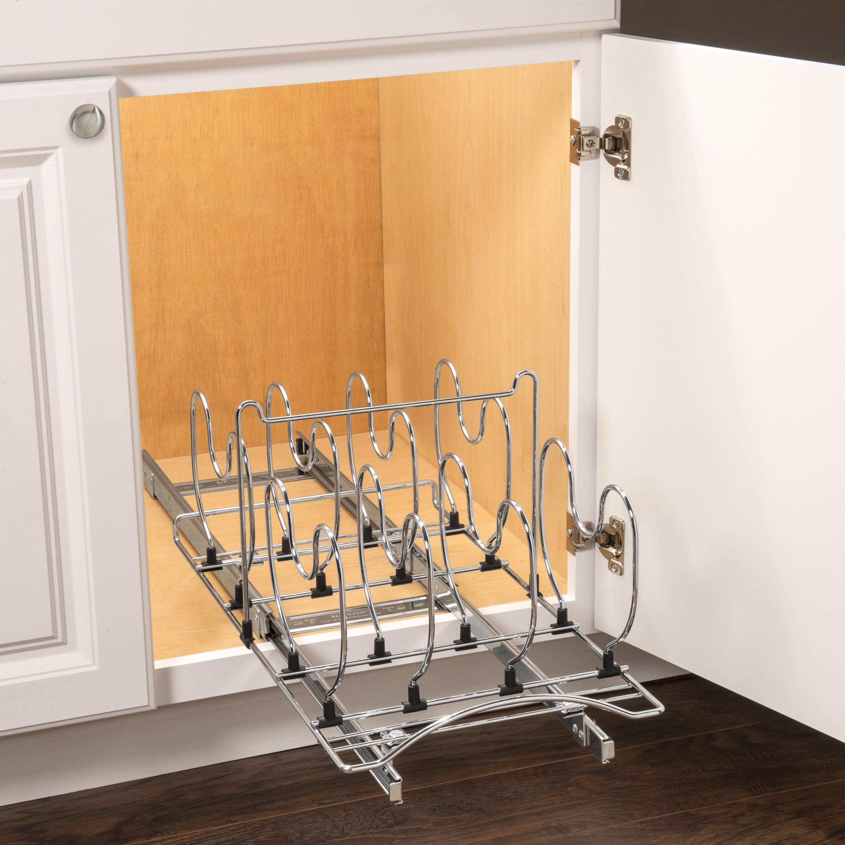 Lynk roll out cookware organizer pull out under cabinet sliding rack 11 inch wide x 21 inch - Cabinet pull out pot rack ...