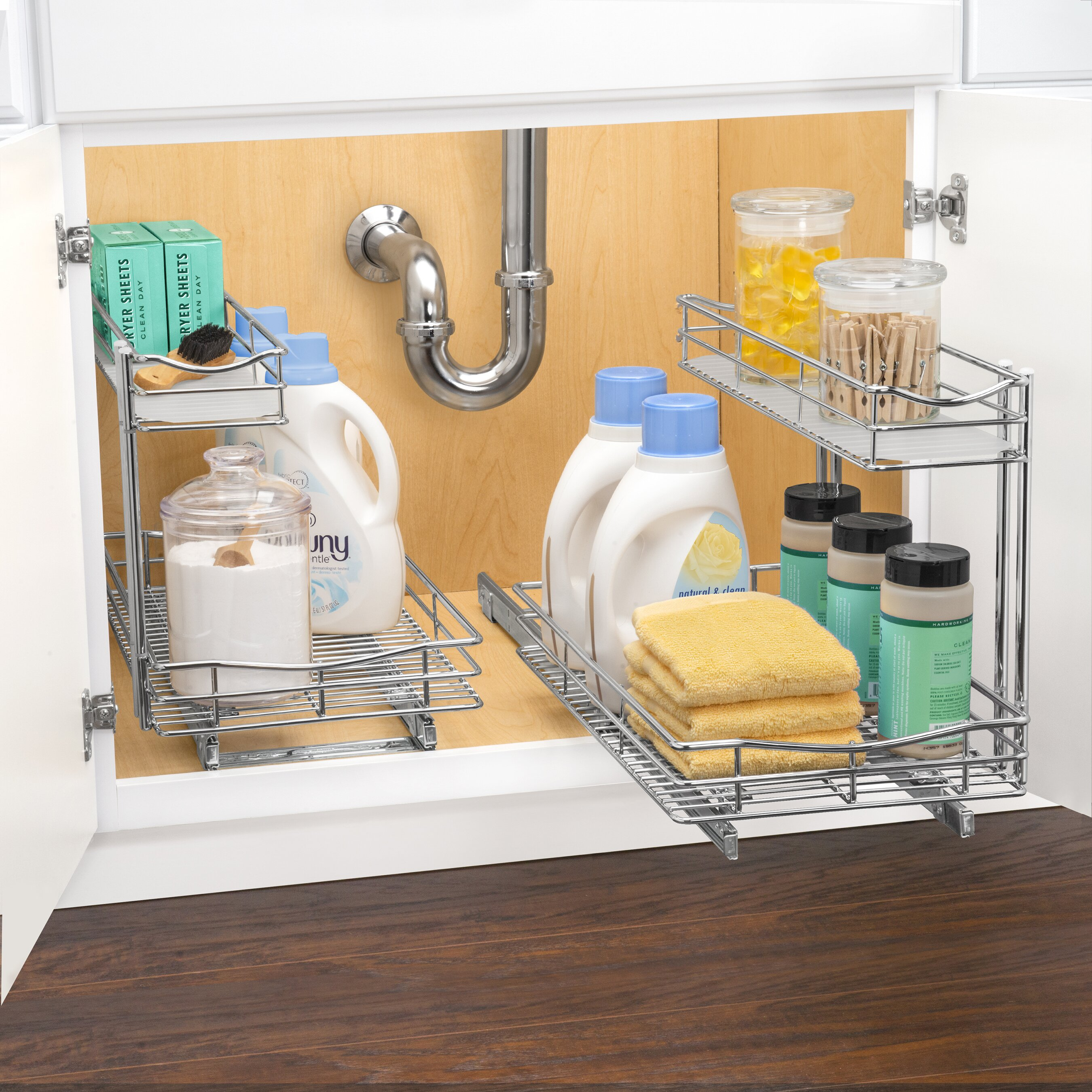 New Cabinet Organizer Sliding Kitchen Under Storage Drawer: Lynk Roll Out Under Sink Cabinet Organizer