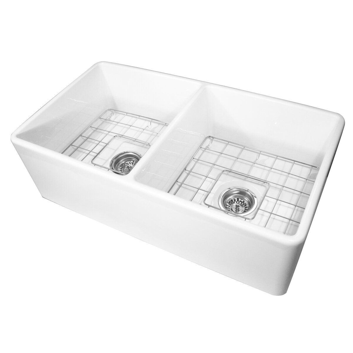 nantucket sinks cape 33 x 18 double bowl kitchen sink with grids reviews wayfair. Black Bedroom Furniture Sets. Home Design Ideas