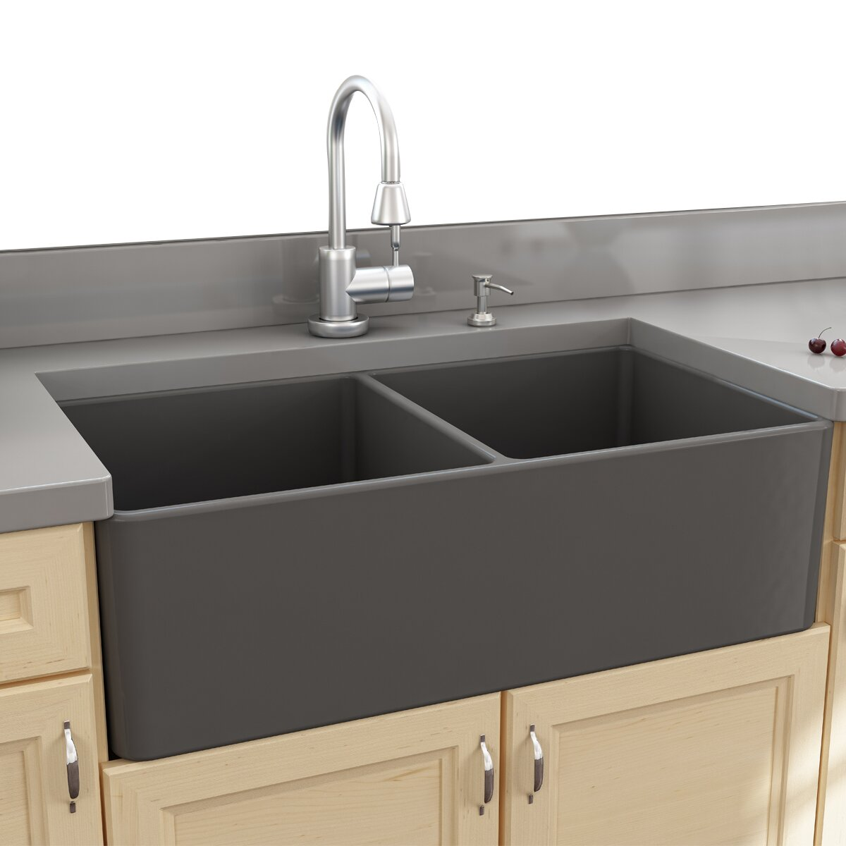 Nantucket Sinks Cape 33 25 Quot X 18 Quot Double Bowl Apron Kitchen Sink Amp Reviews Wayfair