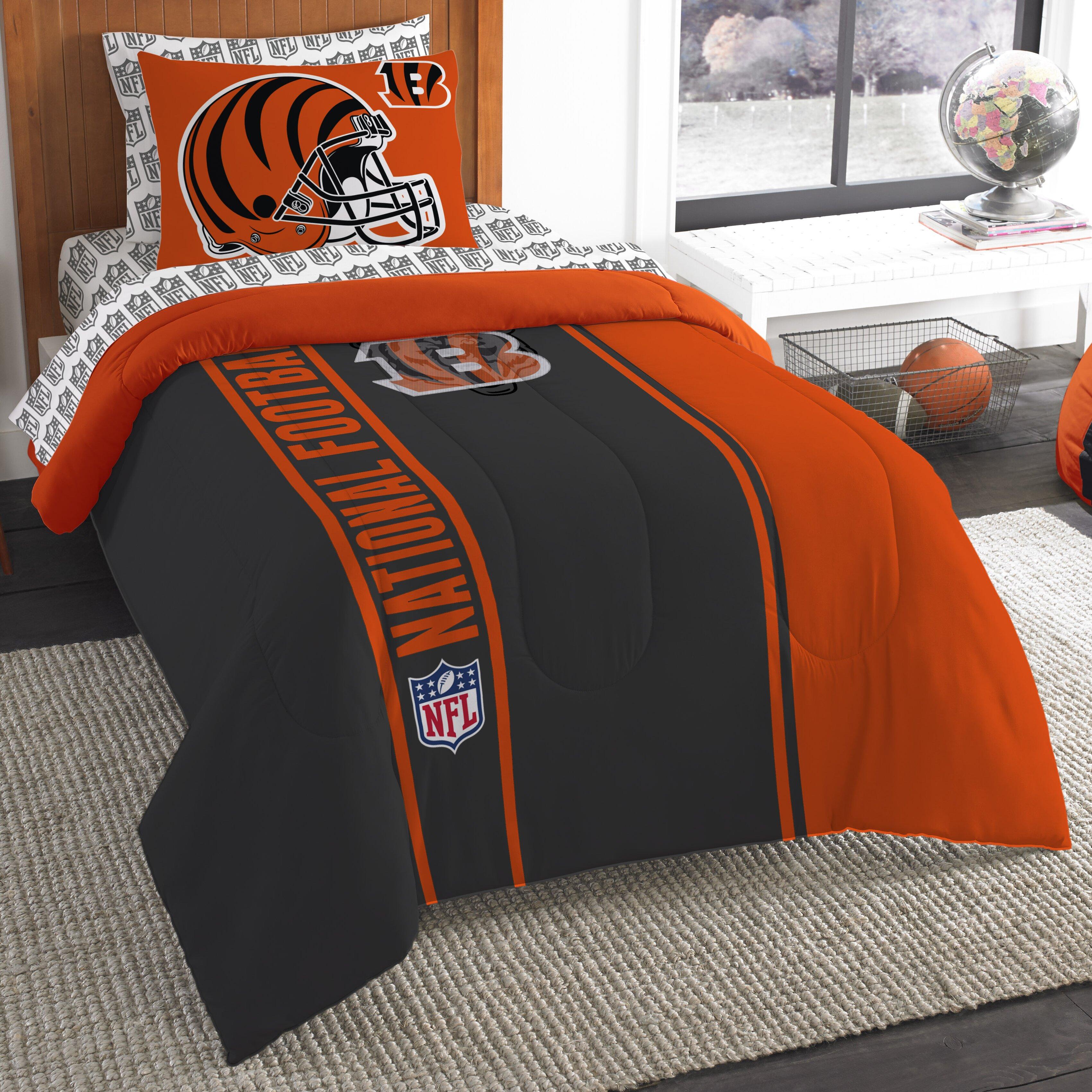 Bengals bedding northwest co nfl bengals comforter set wayfair for Bengals bedroom ideas