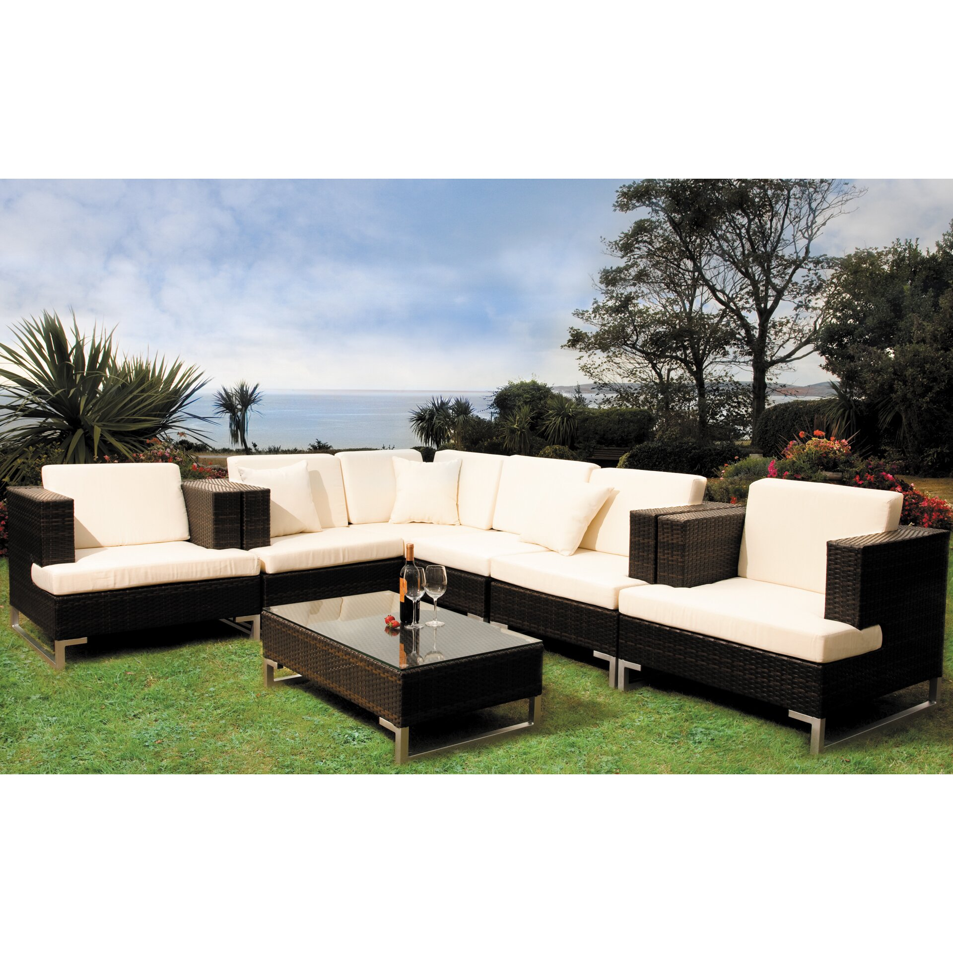 Cozy bay manhattan 6 seater sectional sofa set with for Sectional sofa 6 seater