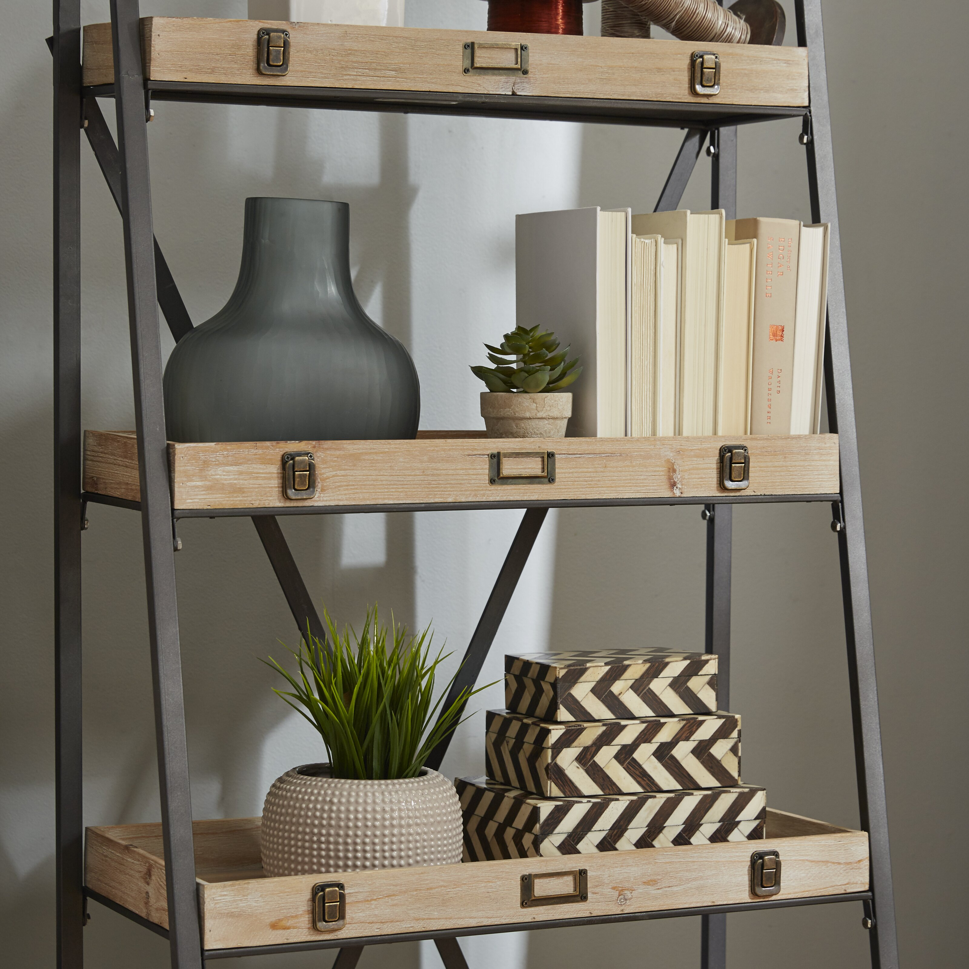 crestview voyager metal and wood tiered 67 etagere. Black Bedroom Furniture Sets. Home Design Ideas
