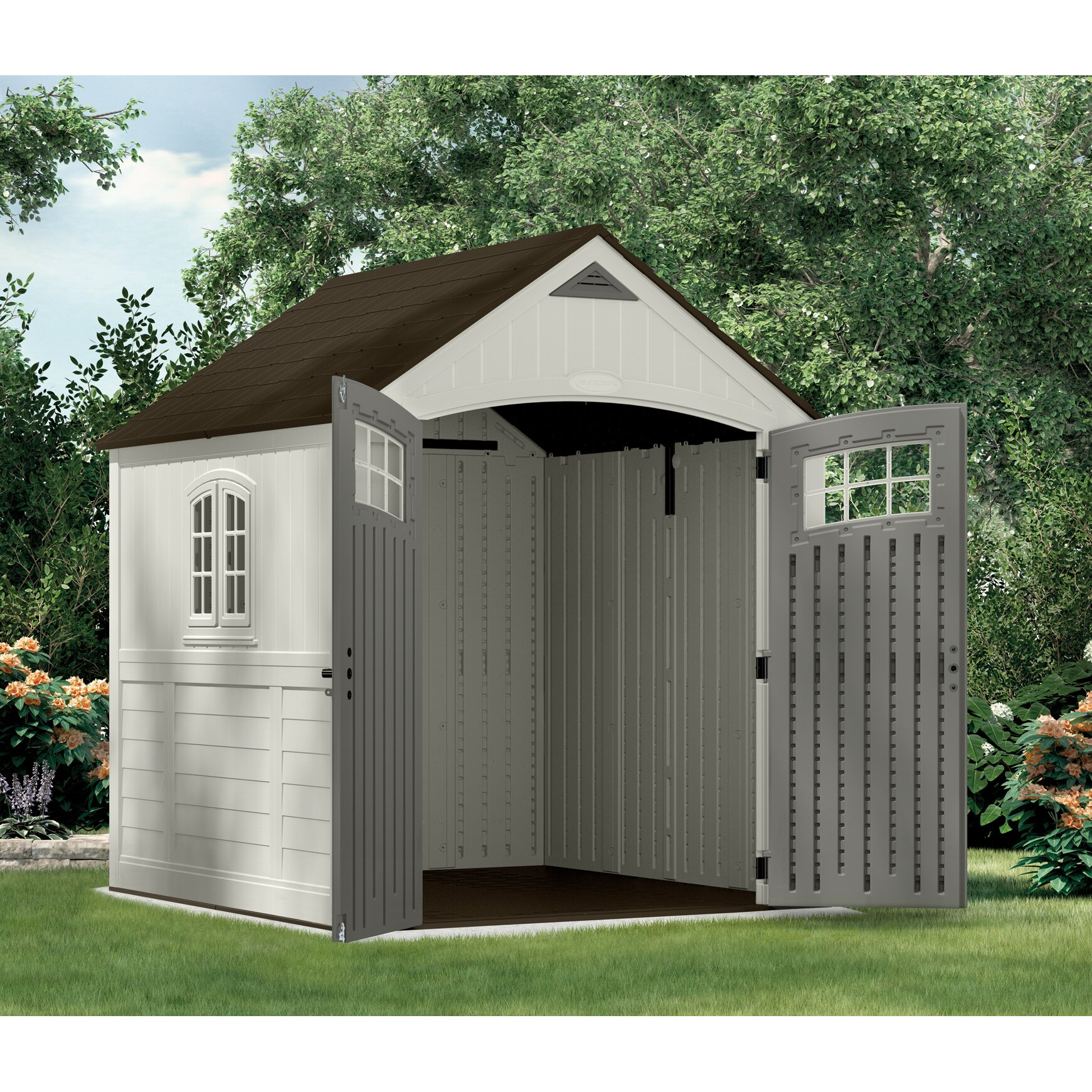 Suncast cascade 7 ft w x 7 ft d resin storage shed for Resin garden shed