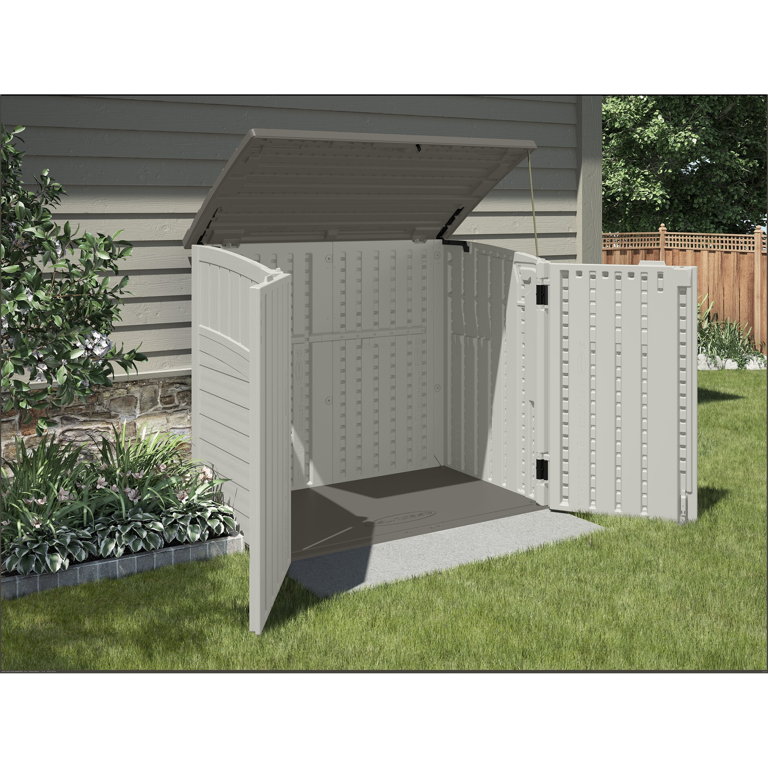 Suncast utility 4 ft w x 3 ft d plastic tool shed for Outdoor tool shed
