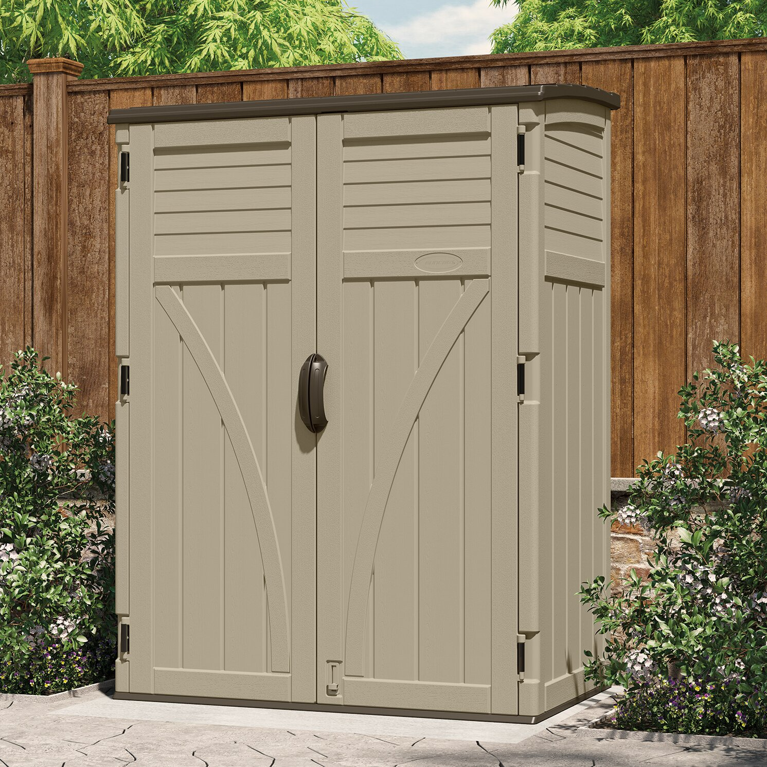 Suncast 4 4 ft w x 2 7 ft d plastic storage shed for Garden shed 7 x 3