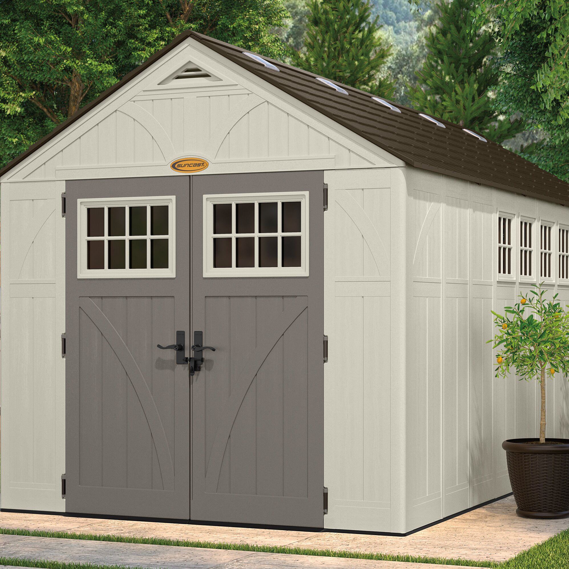 Suncast tremont 8 ft w x 16 ft d resin storage shed for Resin storage sheds