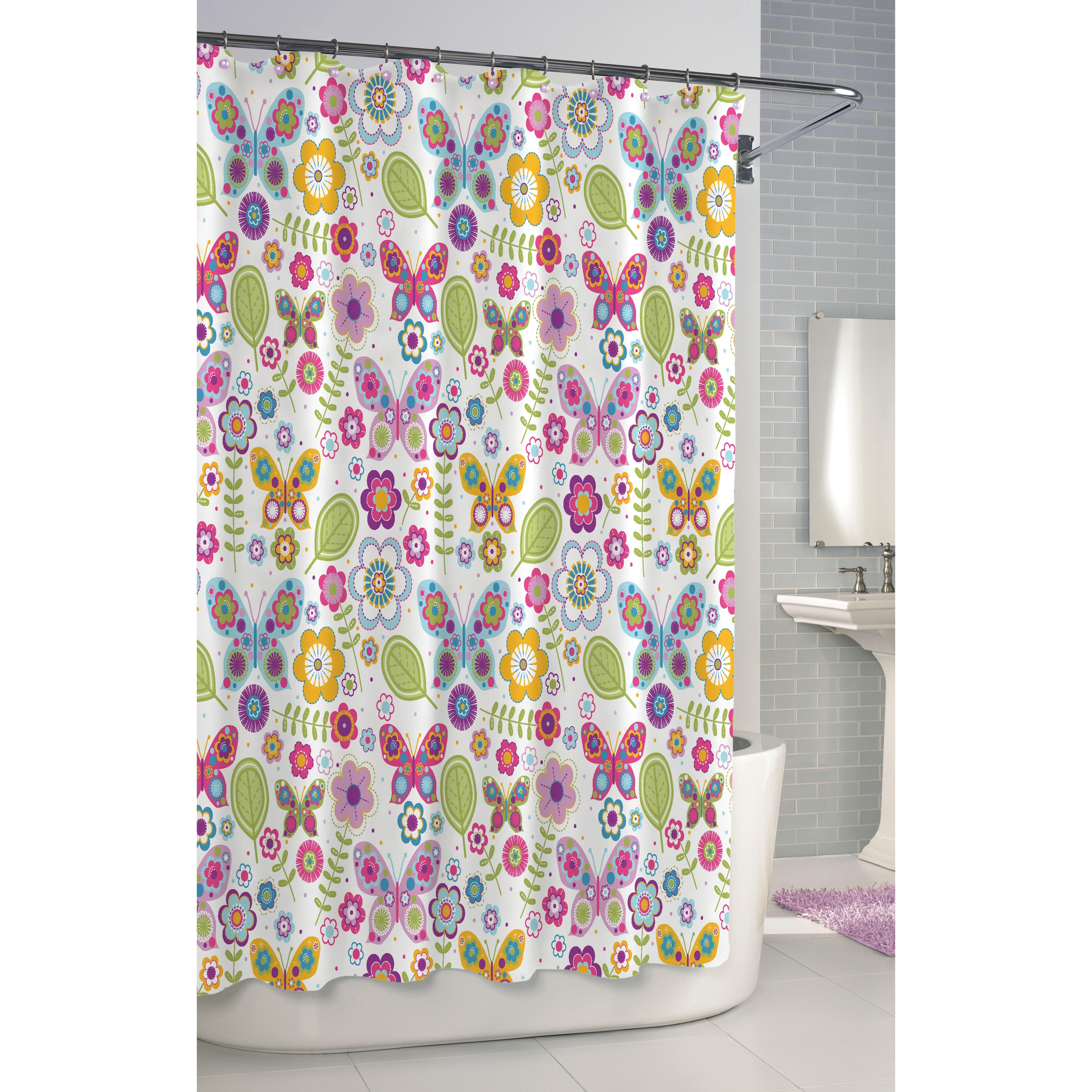 Kassatex Bambini Shower Curtain Cotton Butterfly Shower