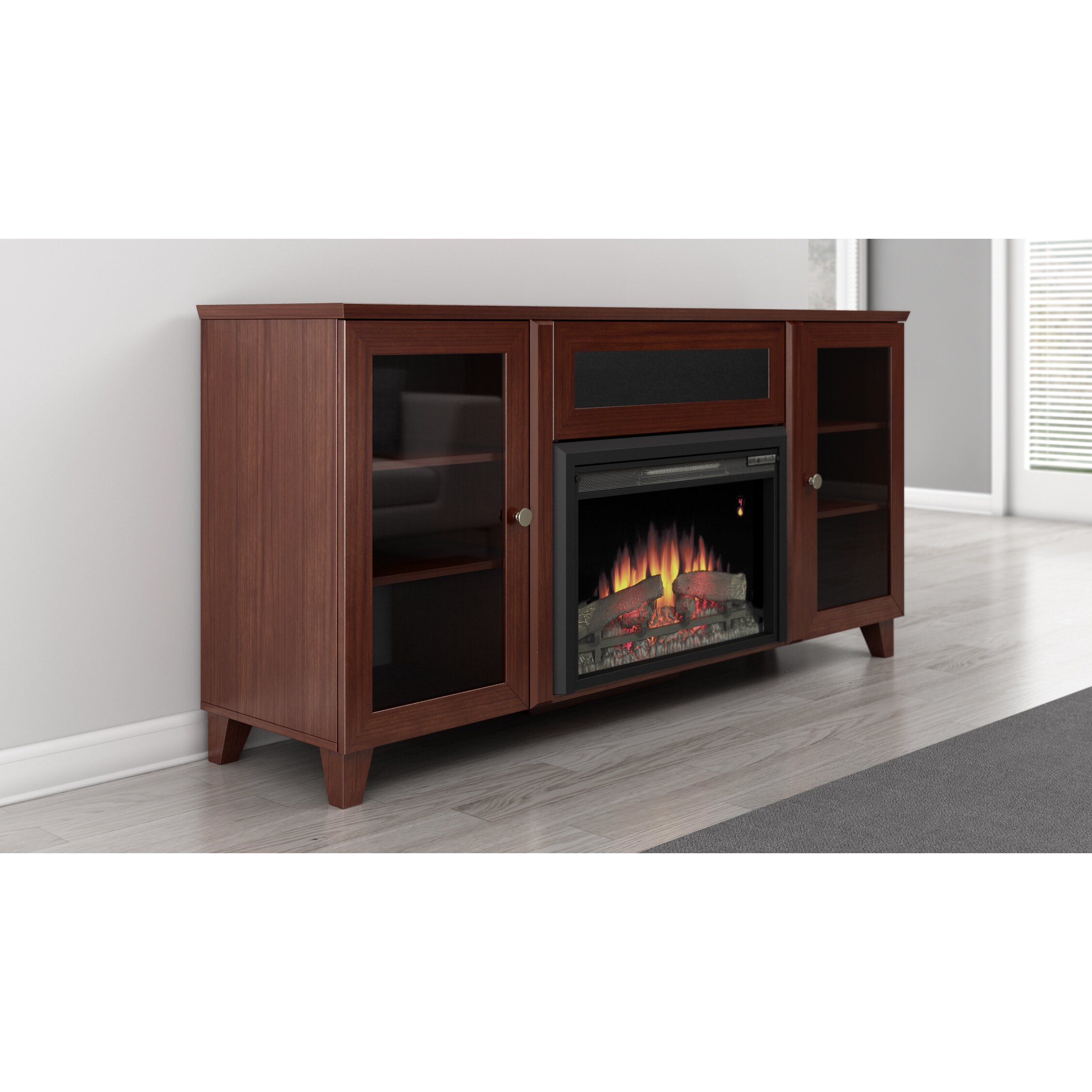 furnitech shaker style tv stand with electric fireplace. Black Bedroom Furniture Sets. Home Design Ideas
