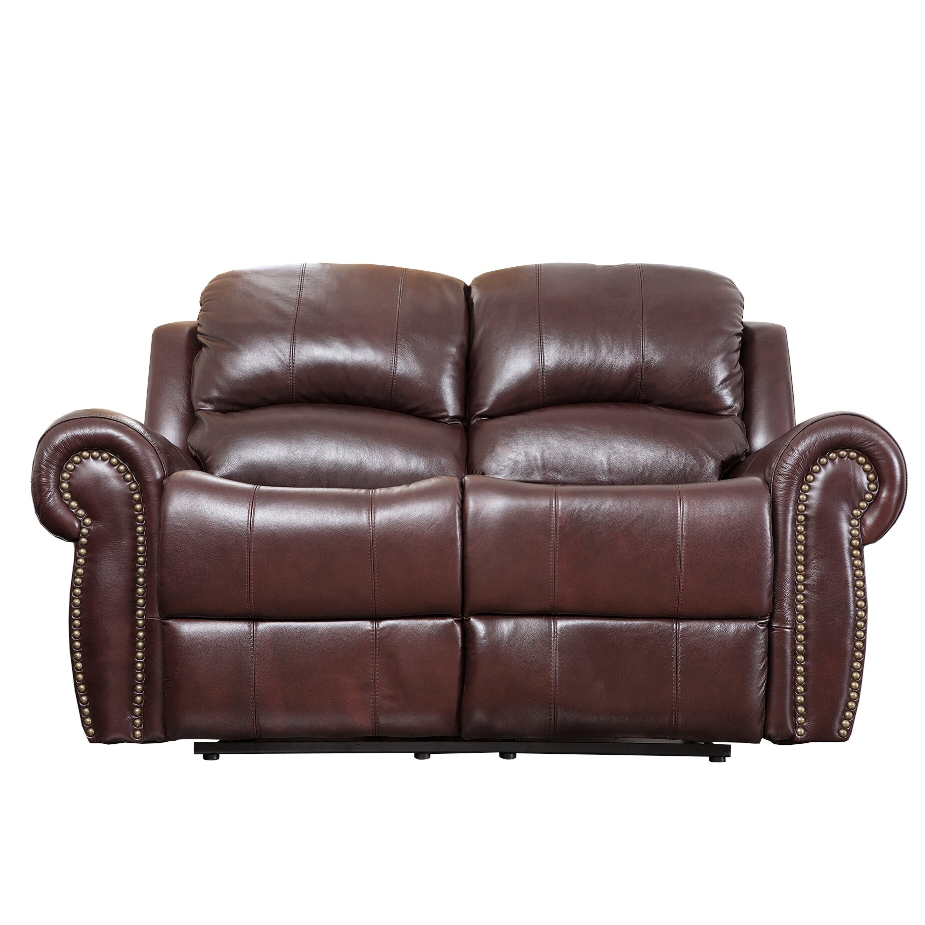 Abbyson living sedona leather reclining loveseat reviews wayfair Leather loveseat recliners