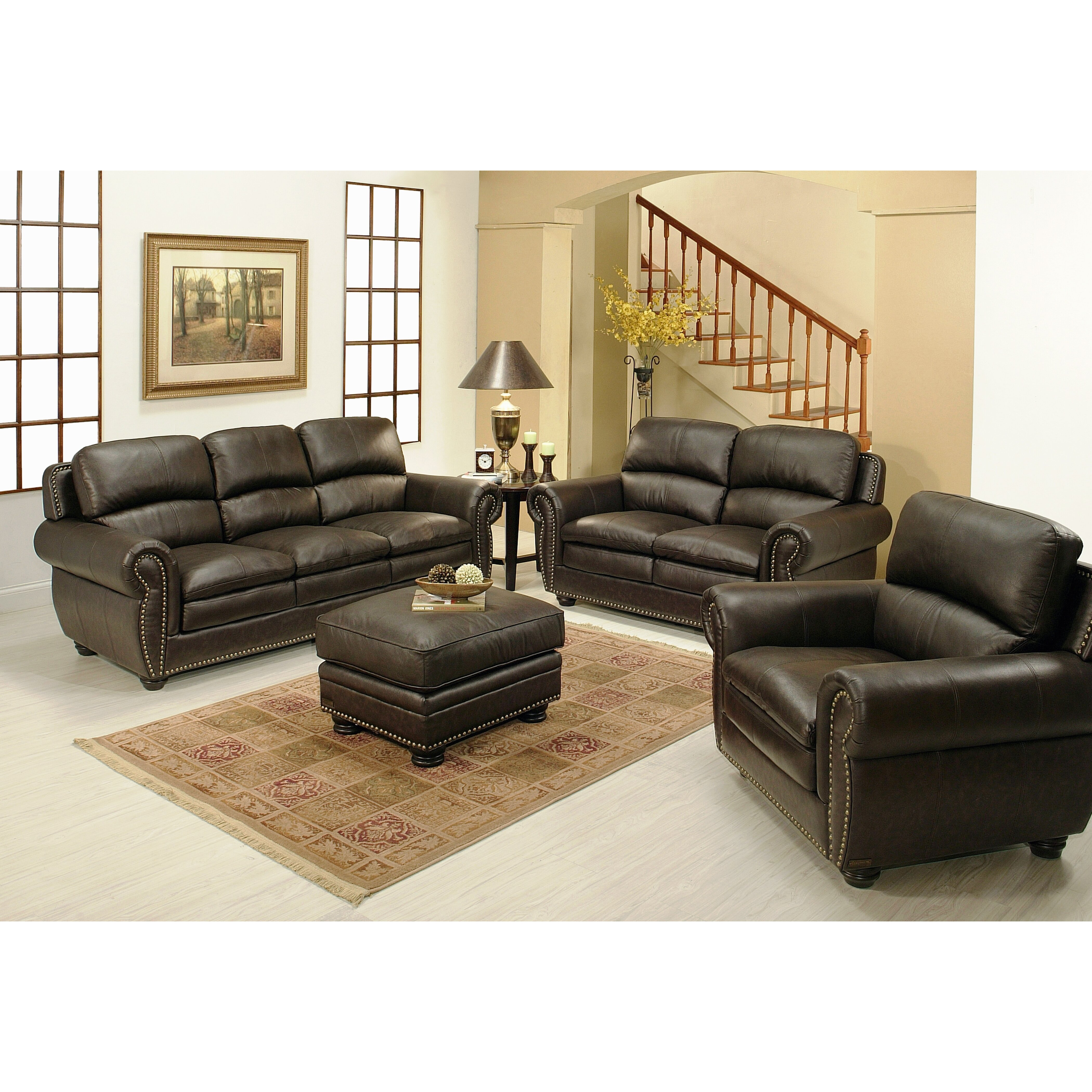Abbyson Living Ridgecrest 4 Piece Top Grain Leather Living Room Collection Wayfair