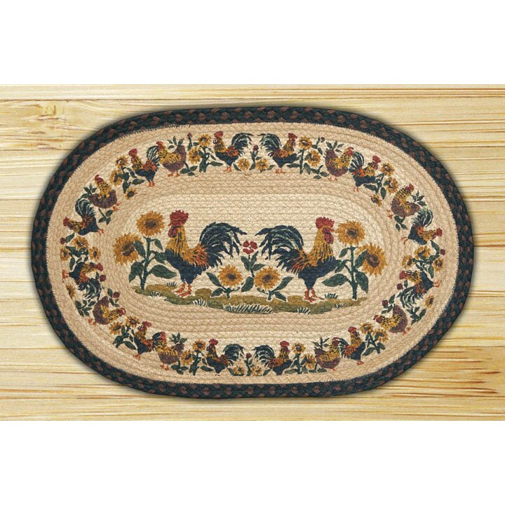 EarthRugs Country Morning Hand Print Multi Oval Area Rug