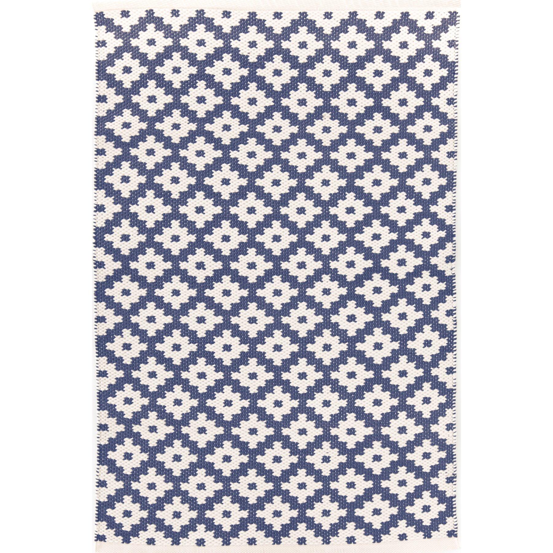Dash And Albert Rugs Samode Hand Woven Blue Indoor/Outdoor