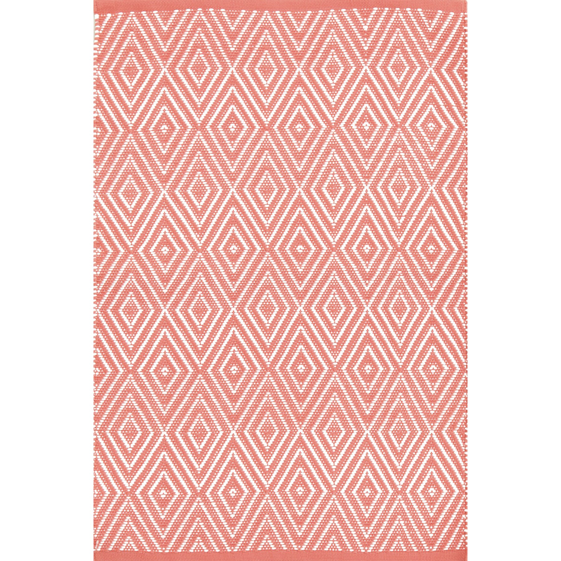 Dash and albert rugs diamond hand woven pink white indoor for Dash and albert indoor outdoor rugs