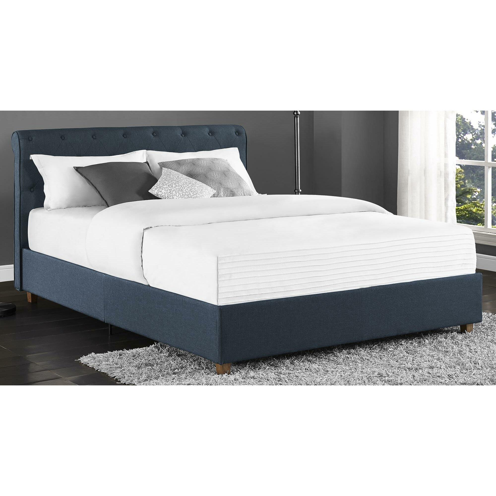 Dhp carmela upholstered platform bed reviews wayfair for Upholstered dog bed