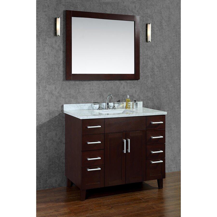 Ariel bath frampton 42 single bathroom vanity set with for Bathroom mirror set