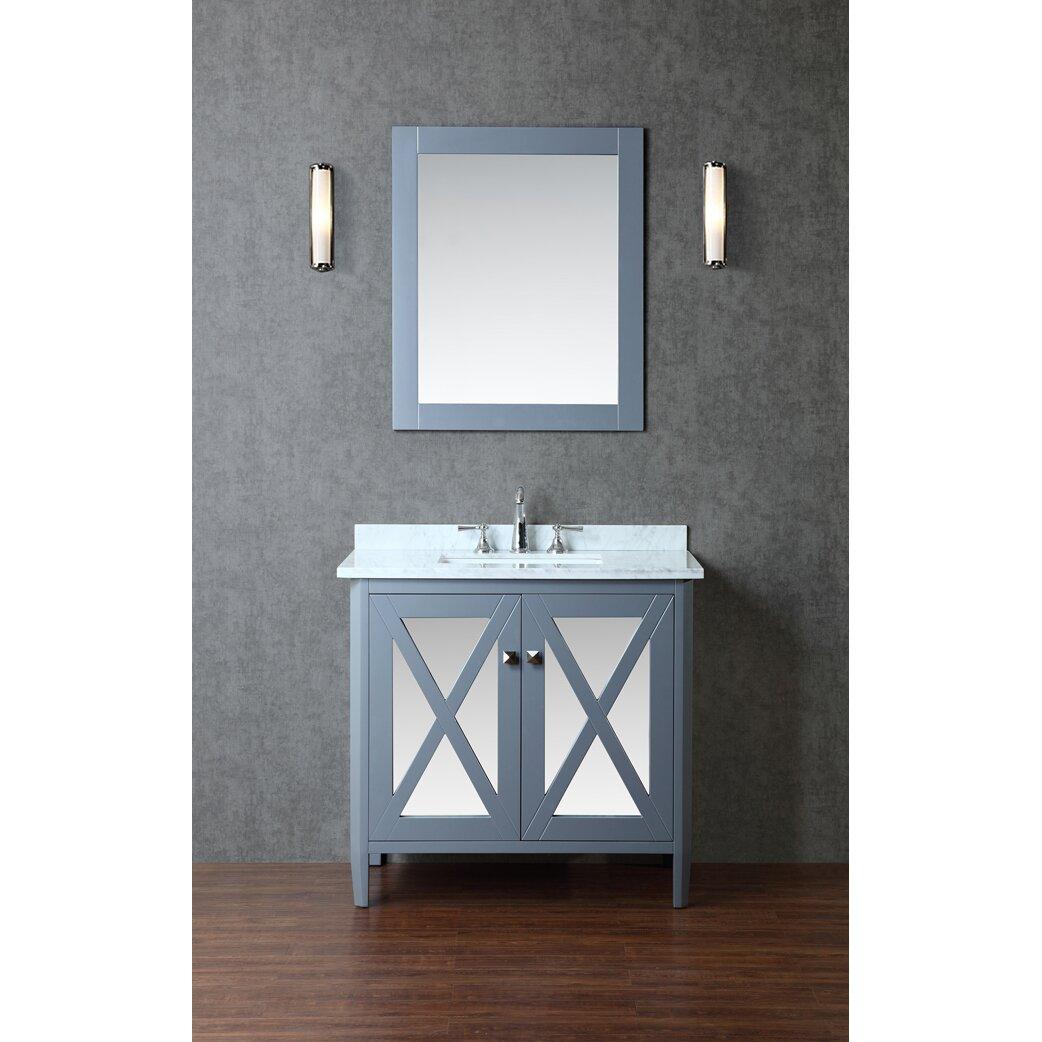 Ariel bath summit 36 single bathroom vanity set with for Bathroom mirror set