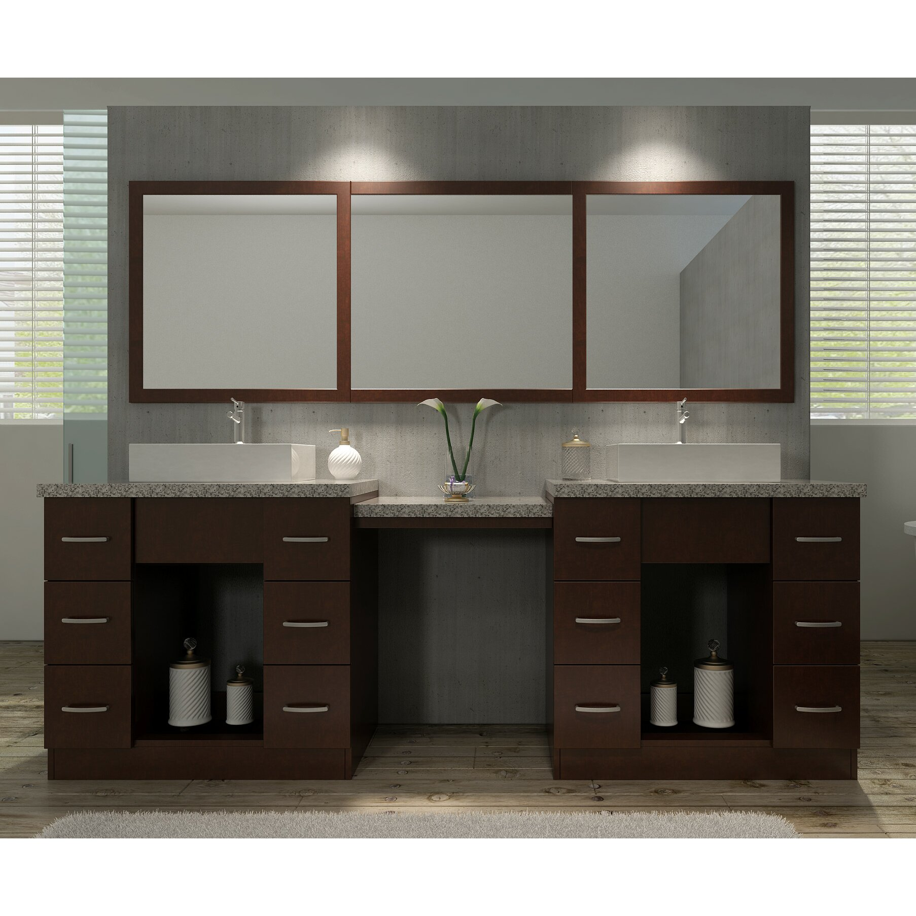 Ariel Bath Roosevelt 97 Quot Double Sink Vanity Set With