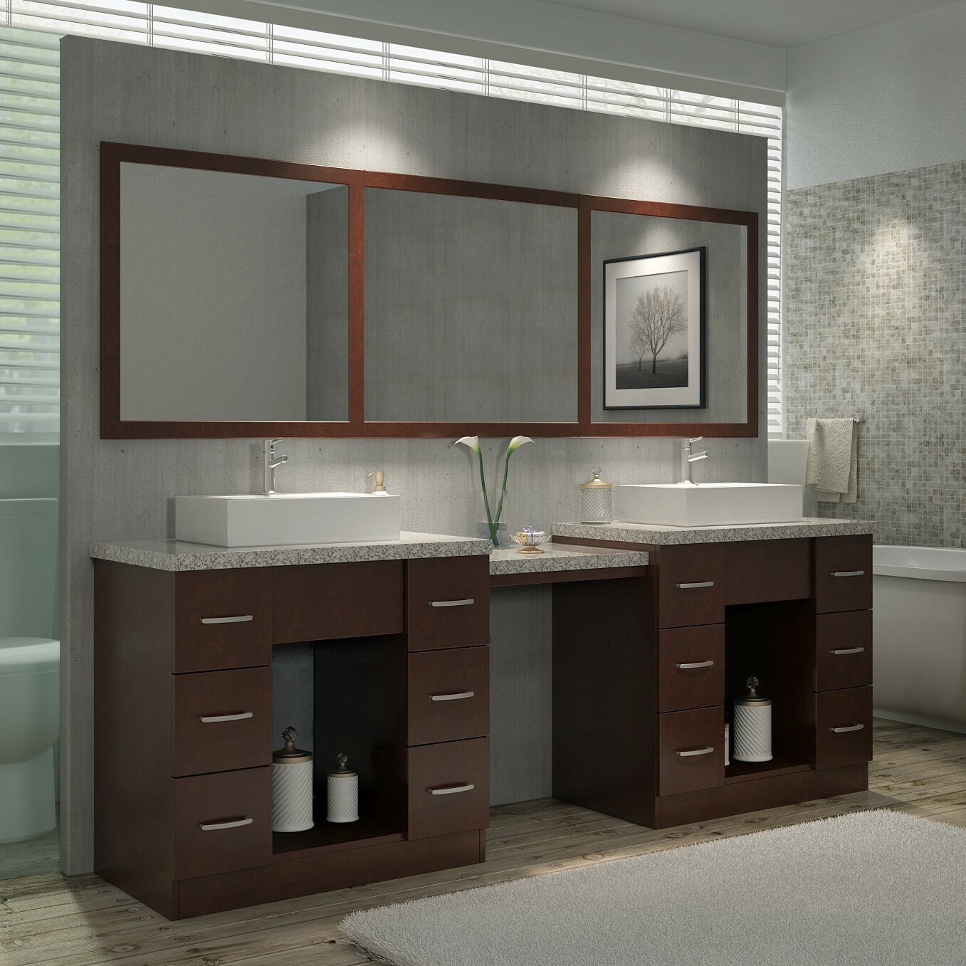 Ariel Bath Roosevelt 97 Quot Double Sink Vanity Set With