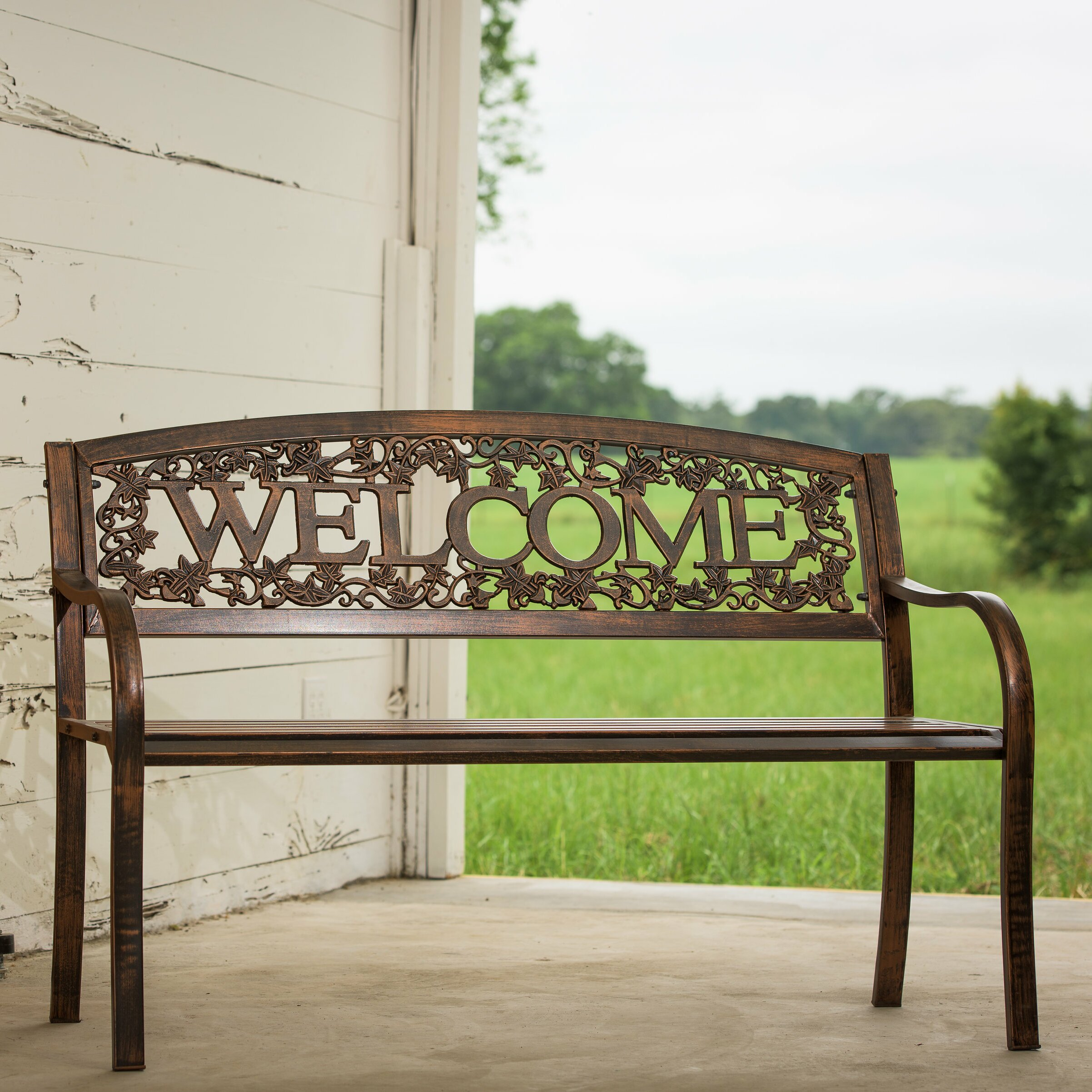 Leighcountry Welcome Steel Garden Bench Reviews Wayfair