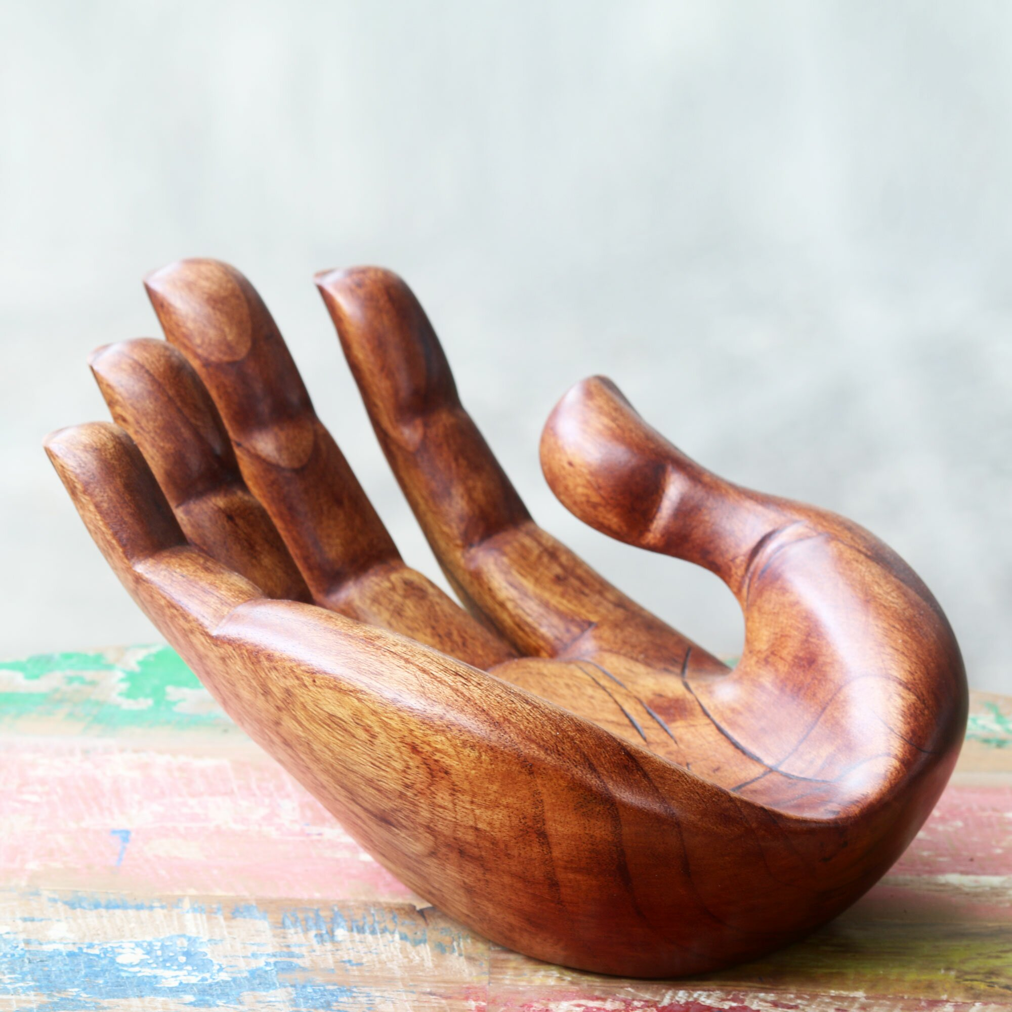 Novica signed handcarved wood hand sculpture wayfair