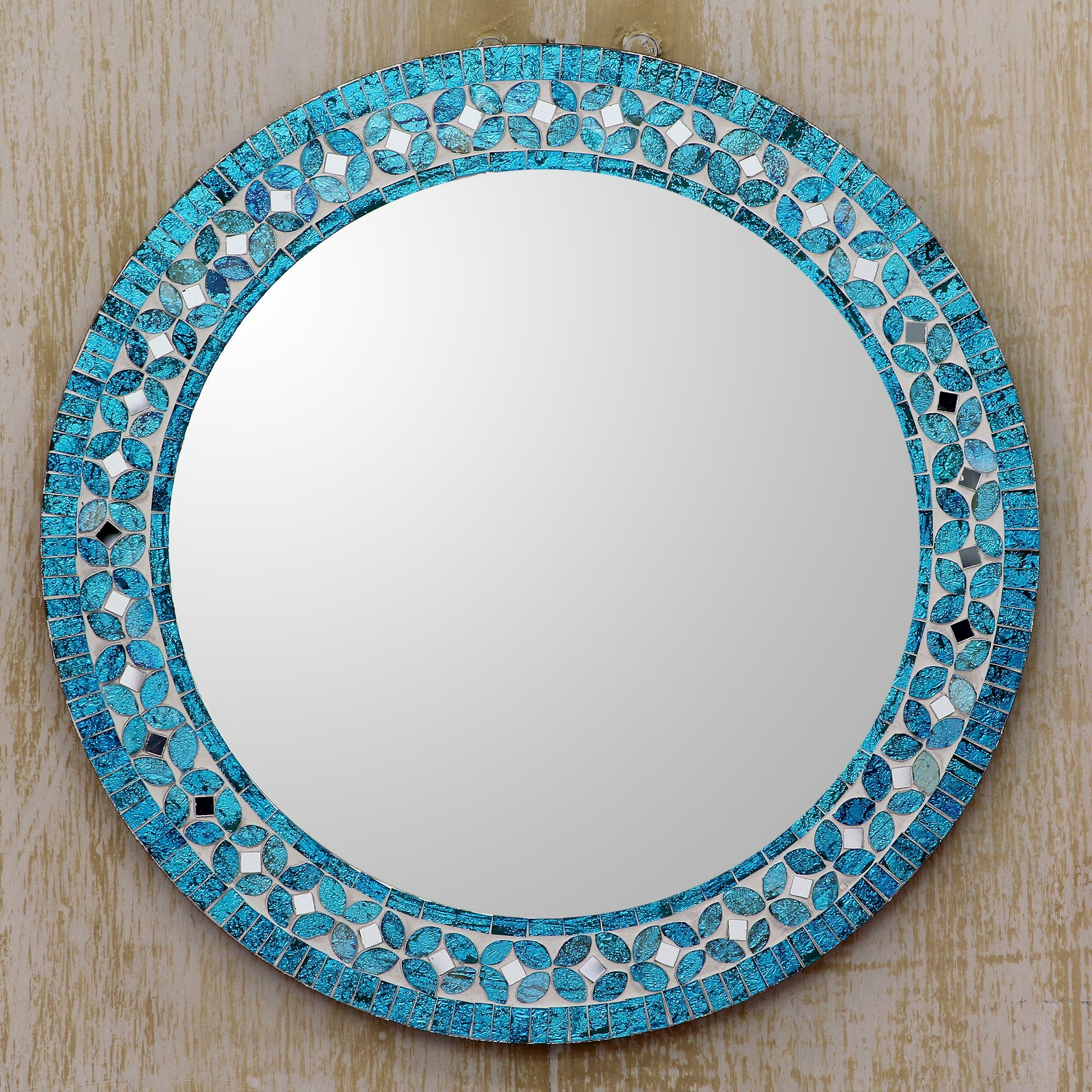 Novica Round Flower Motif Glass Mosaic Tile Wall Mirror