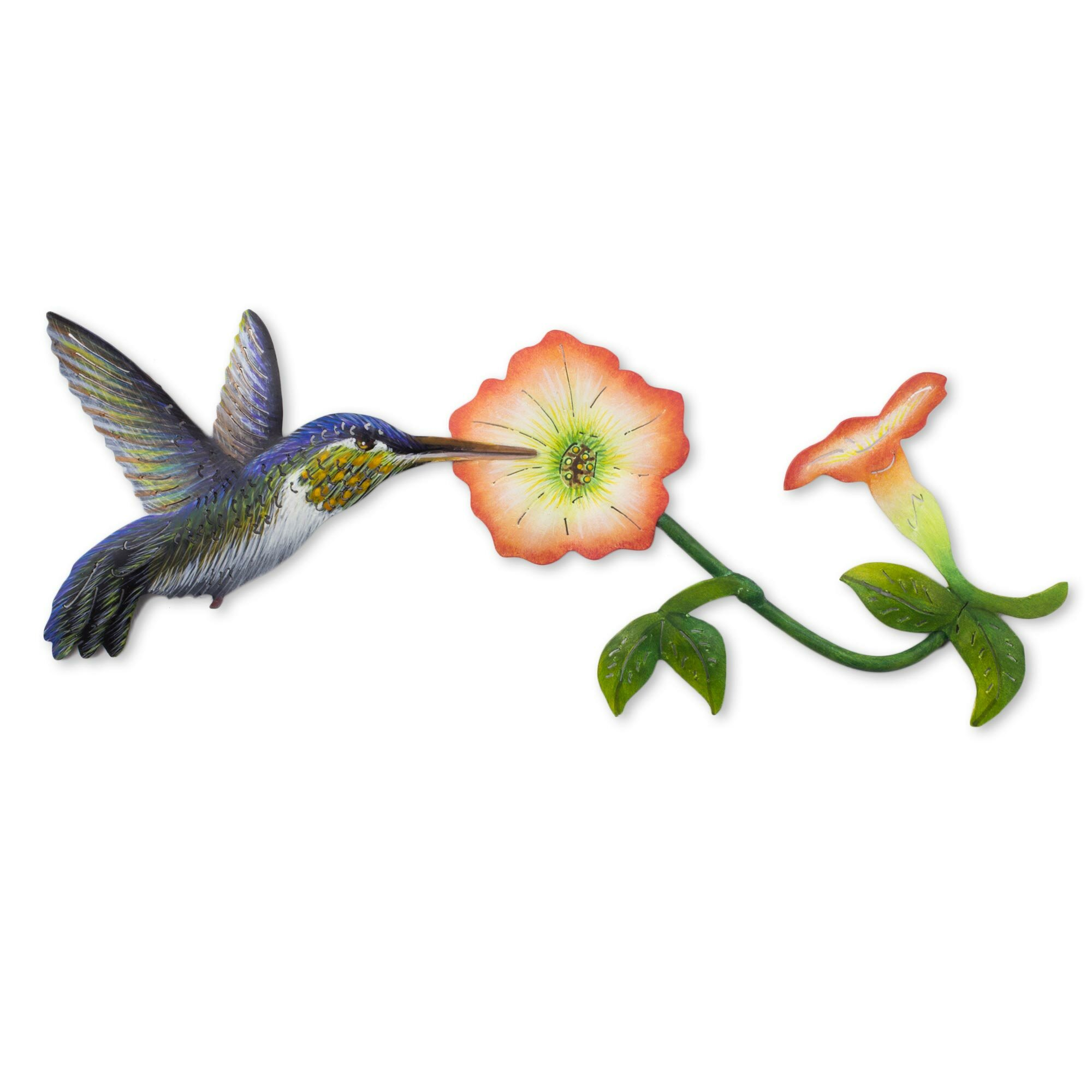 Novica alejandro de esesarte hummingbird and flowers steel for Hummingbird decor