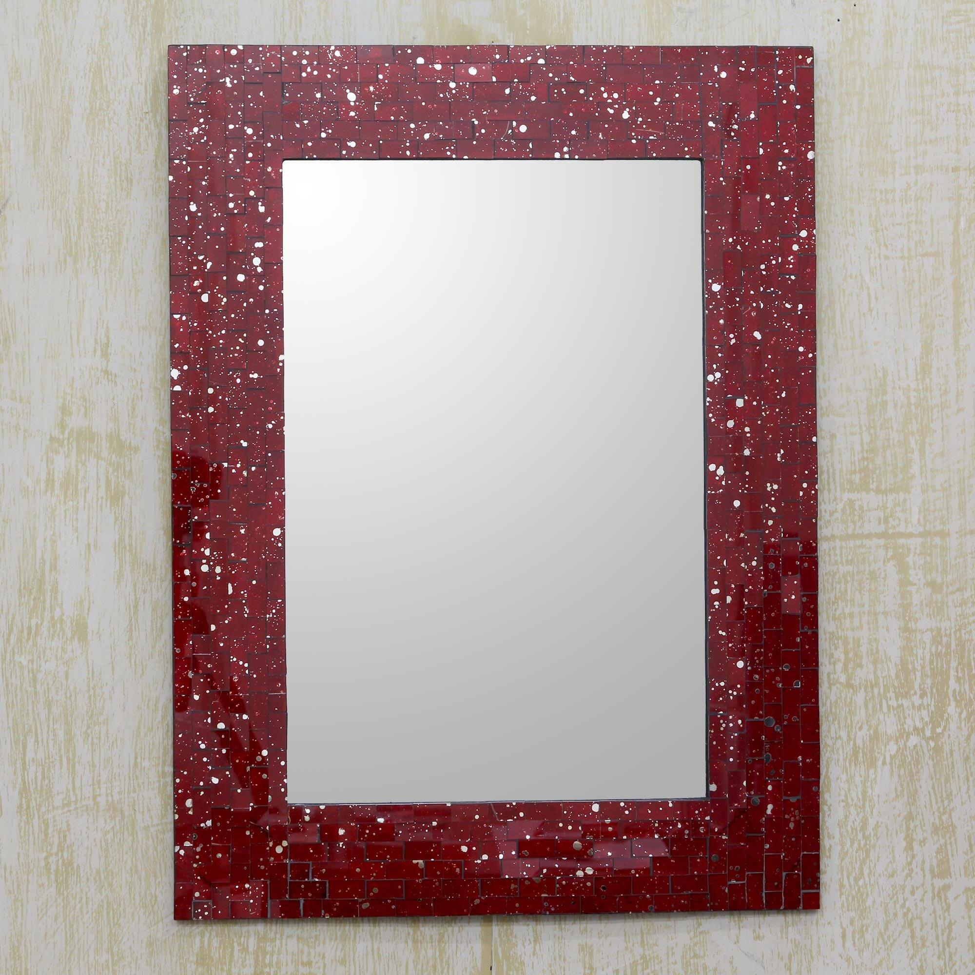Novica Crimson Cosmos Rectangular Glass Mosaic Framed