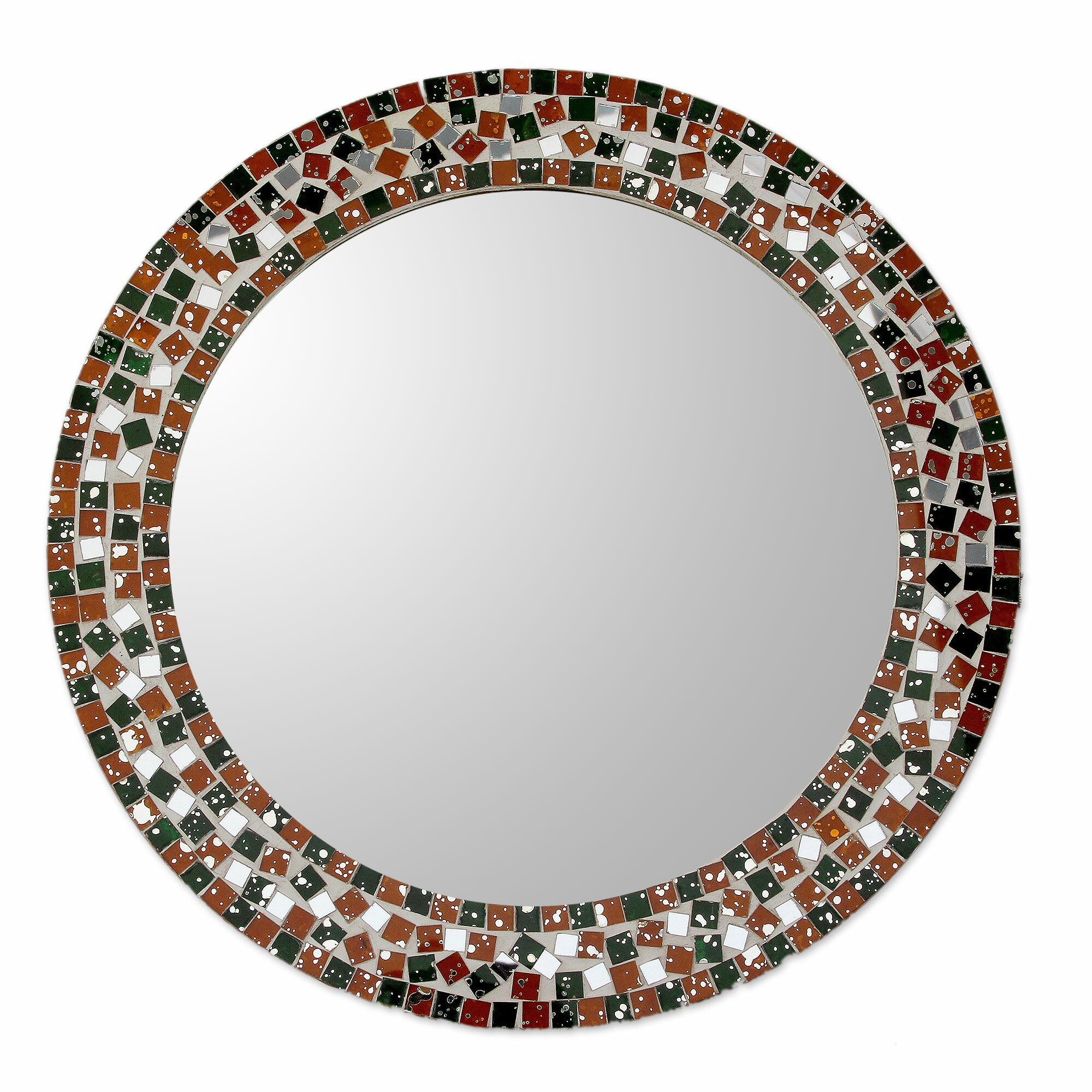Novica forest mosaic artisan crafted round wall mirror for Mosaic mirror