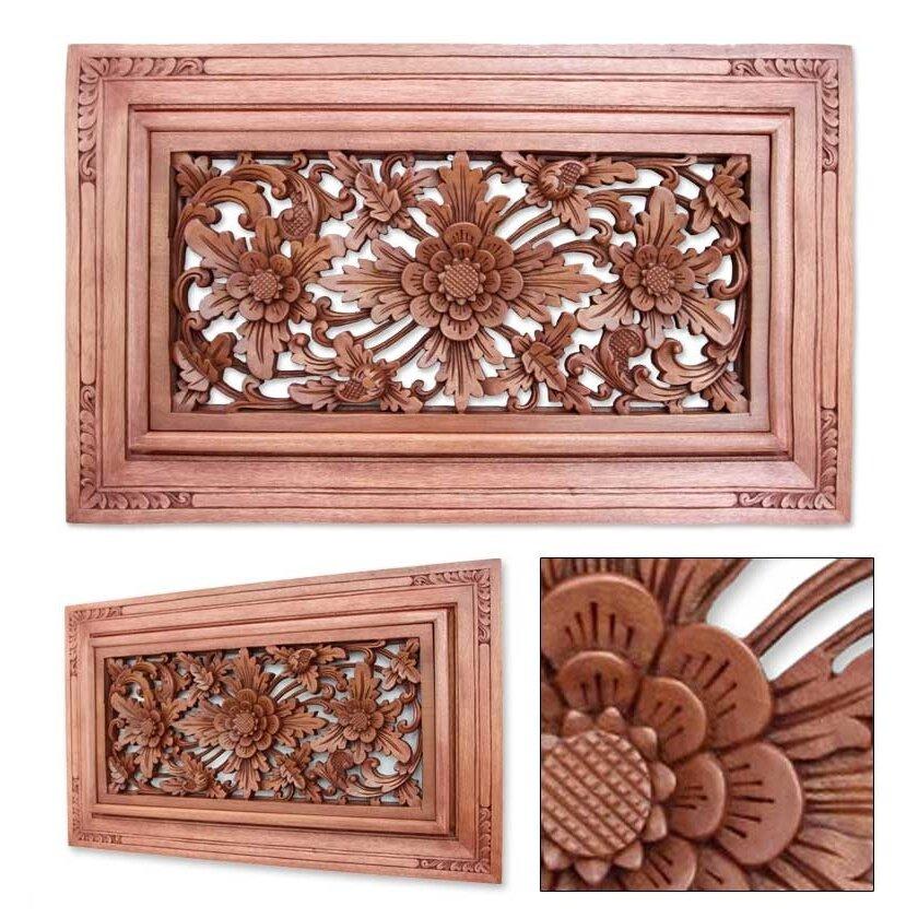 Dream Wood Wall Decor : Novica ketut sandi flower of dreams floral wood relief