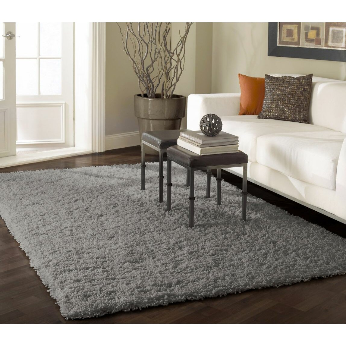 nuloom shag gray area rug reviews wayfair. Black Bedroom Furniture Sets. Home Design Ideas